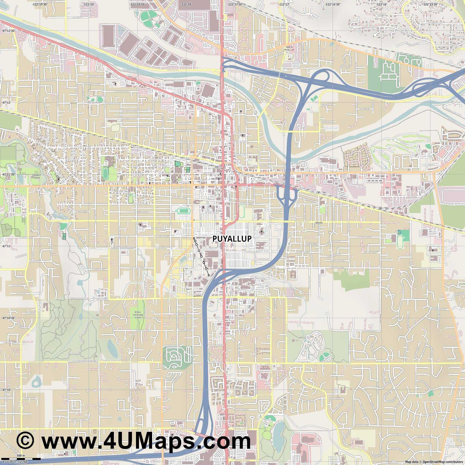 Puyallup  jpg ultra high detail preview vector city map