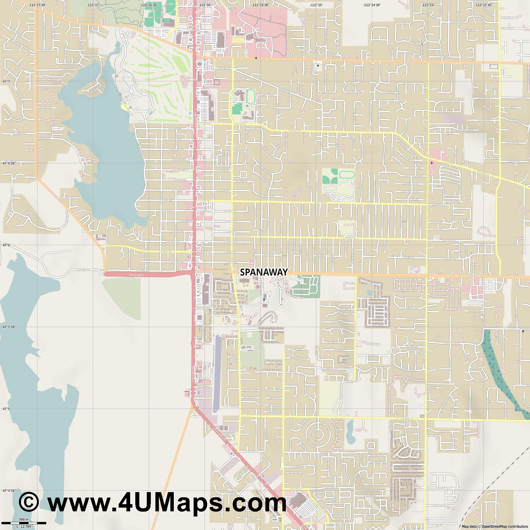 Spanaway  jpg ultra high detail preview vector city map