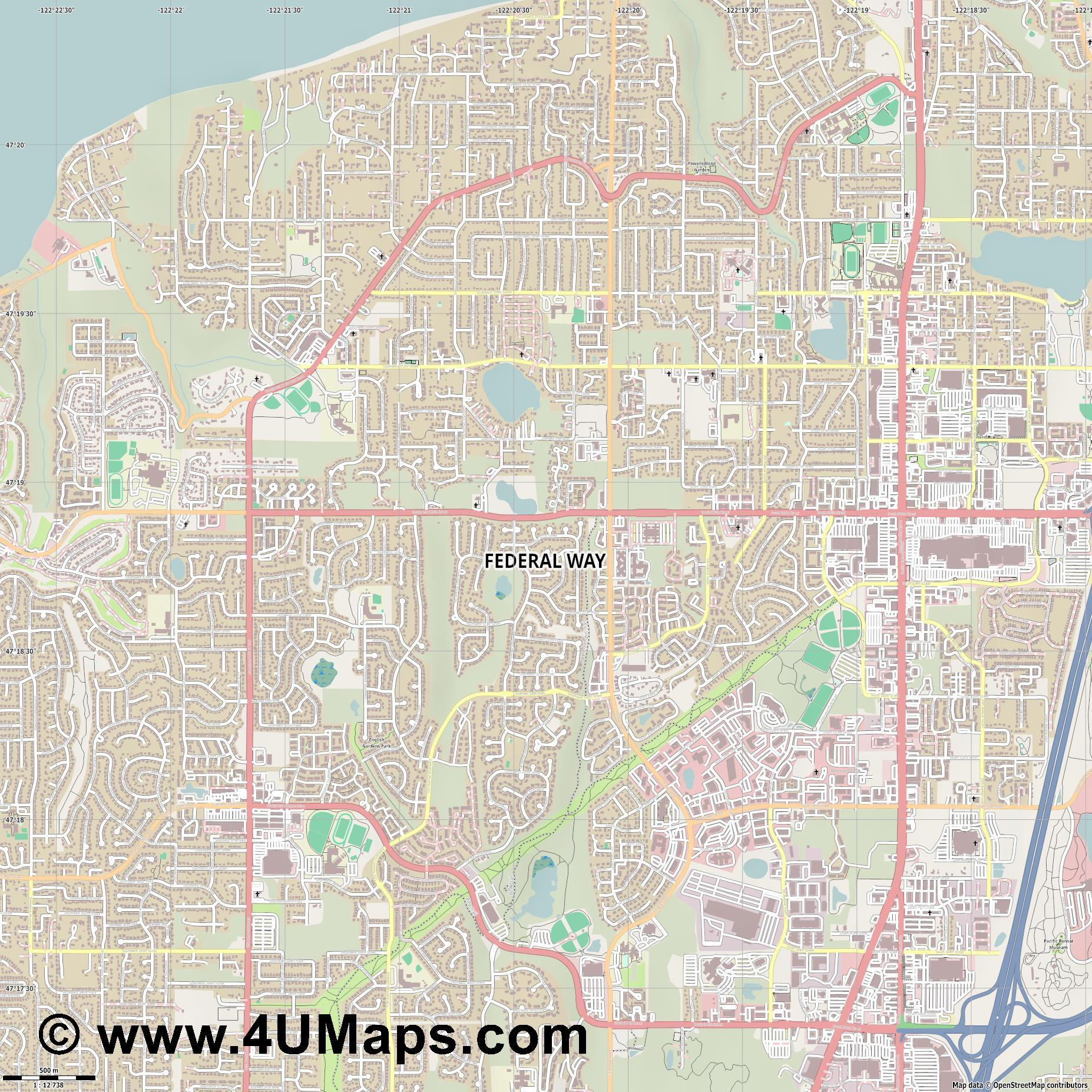 Federal Way  jpg ultra high detail preview vector city map