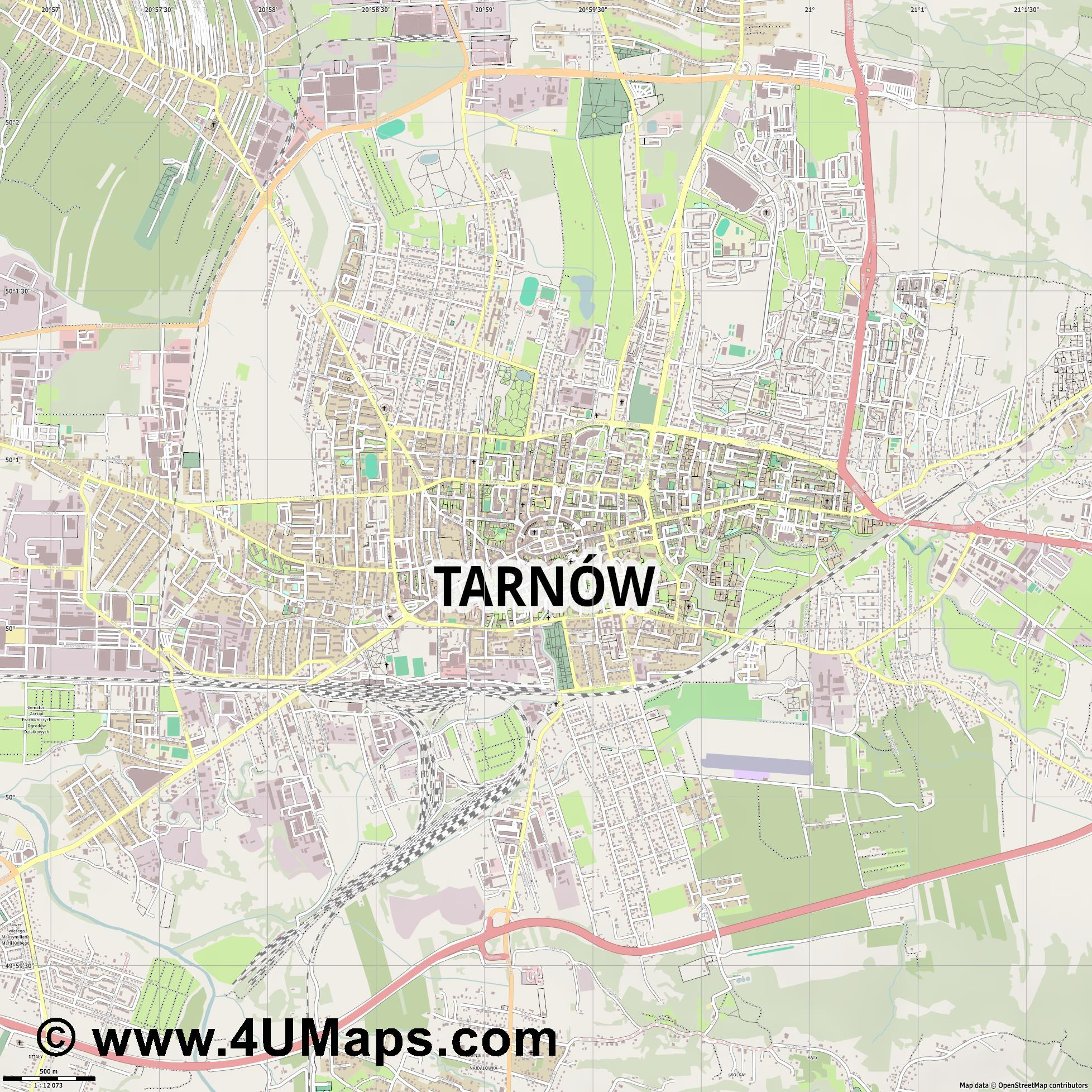Tarnów Tarnau  jpg ultra high detail preview vector city map