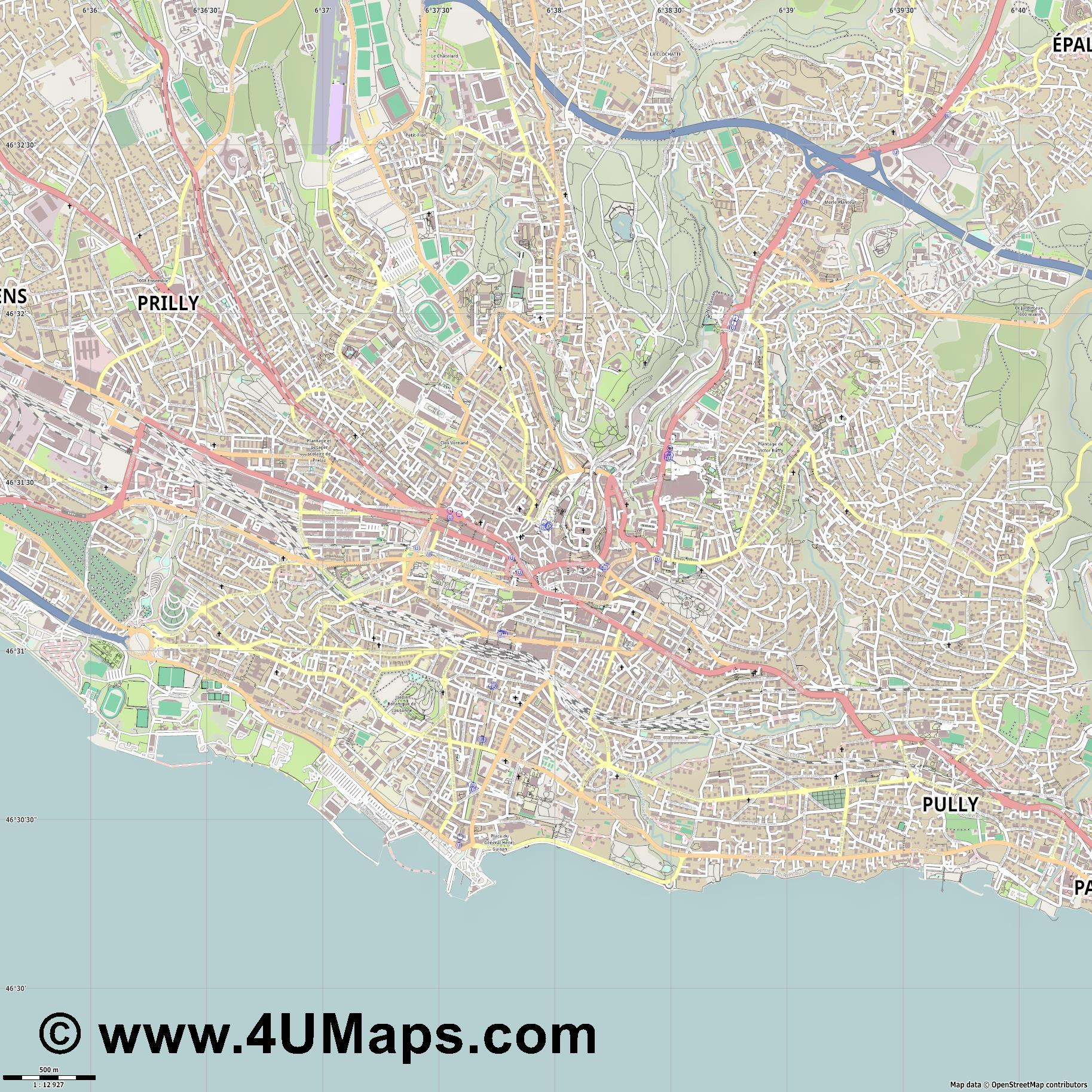 Svg Scalable Vector City Map Lausanne - Lausanne city map