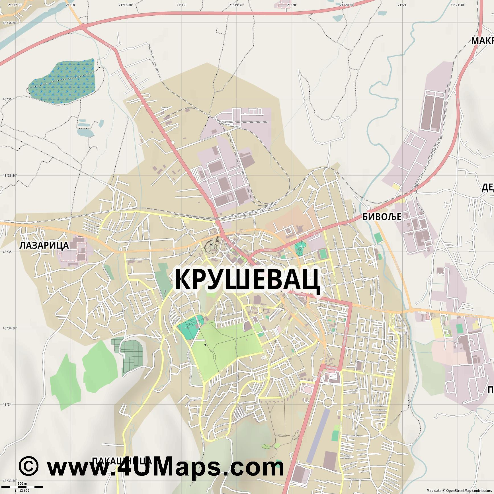 Крушевац Krusevac  jpg ultra high detail preview vector city map