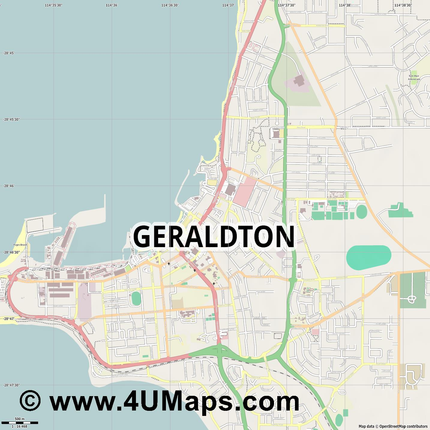 Geraldton  jpg ultra high detail preview vector city map