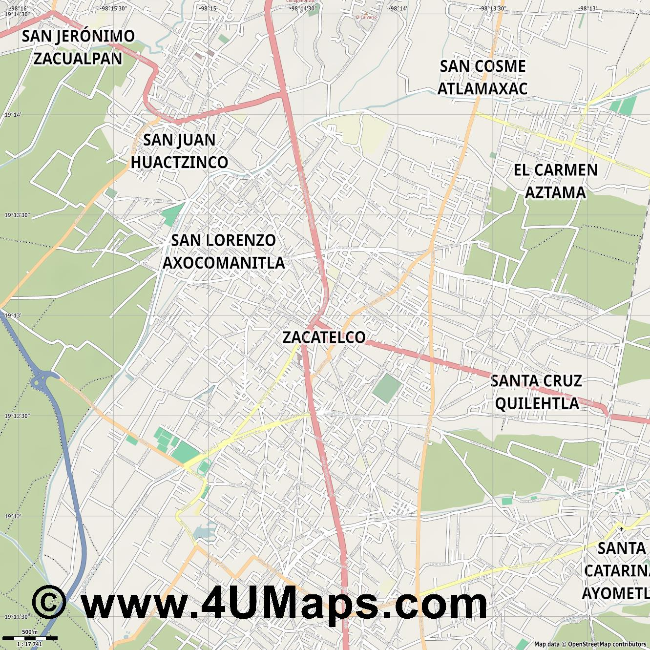 Zacatelco  jpg ultra high detail preview vector city map
