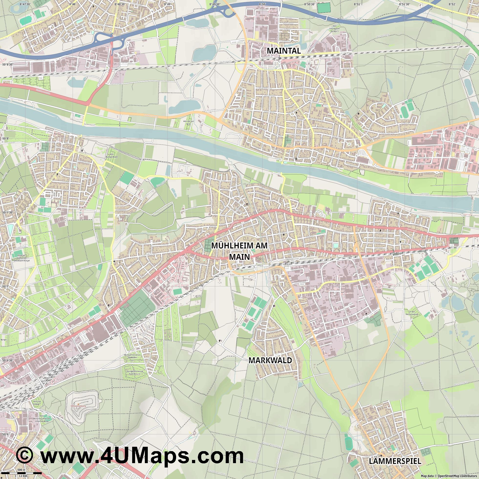 Mühlheim am Main  jpg ultra high detail preview vector city map