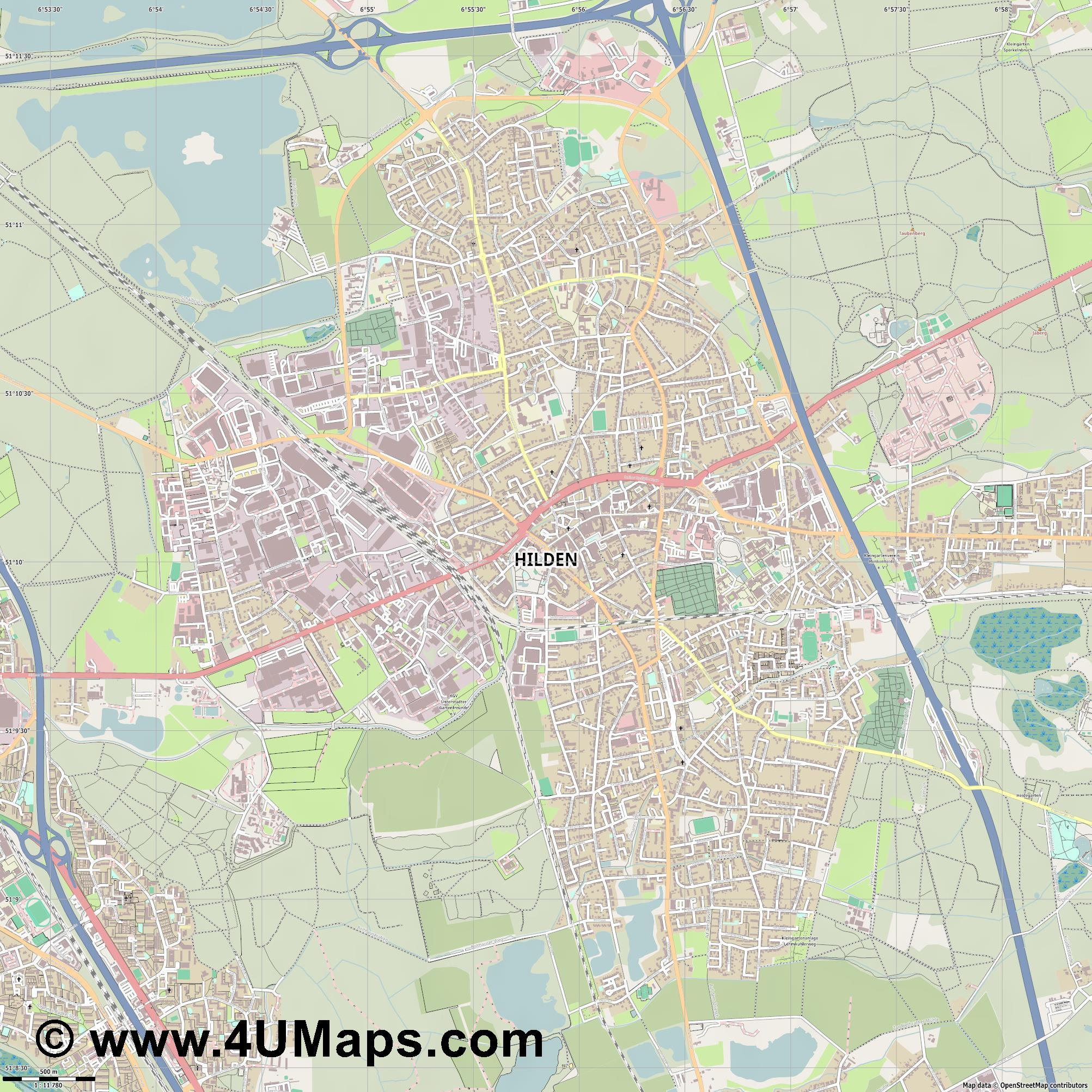 Hilden  jpg ultra high detail preview vector city map