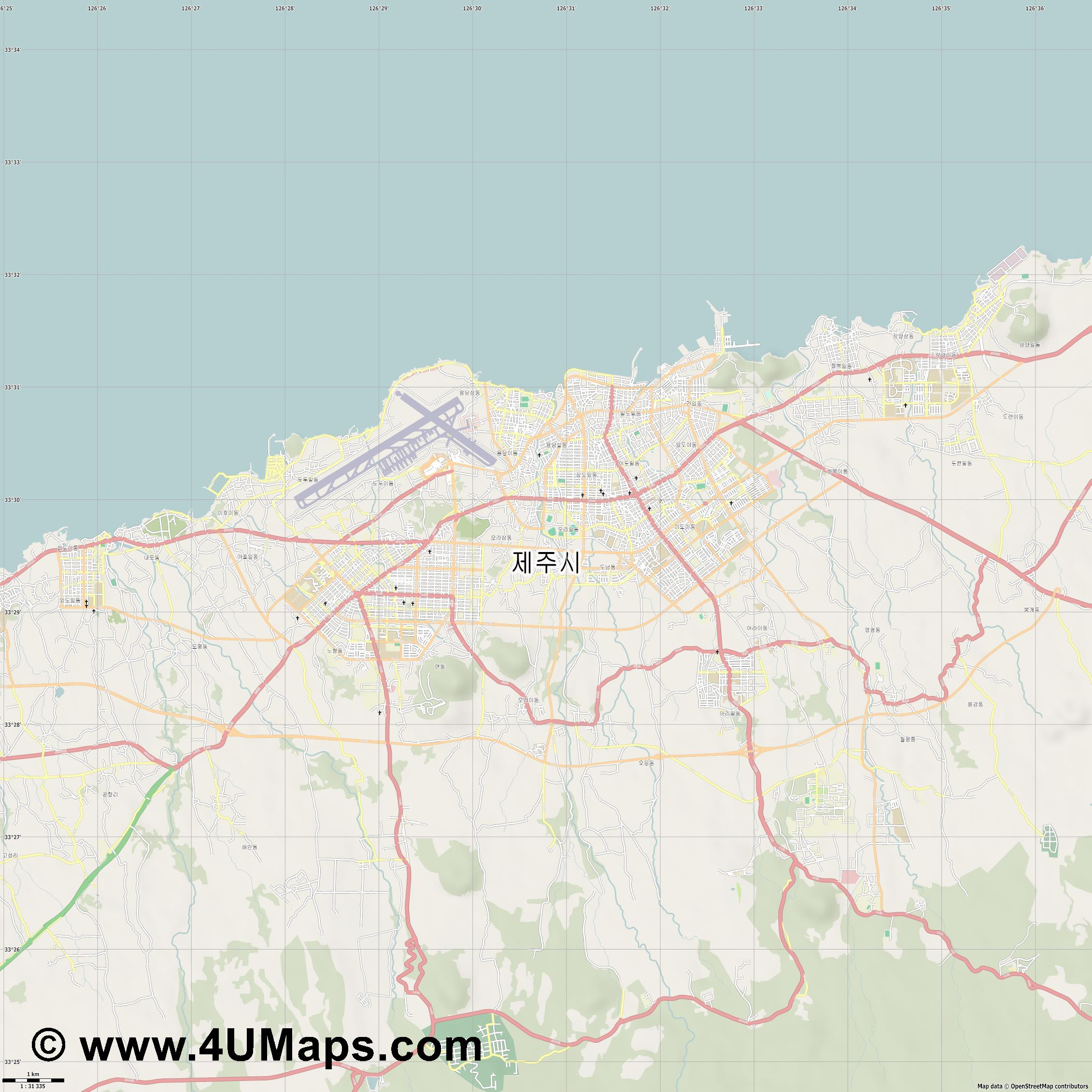 제주시  Jeju   jpg high detail, large area preview vector city map