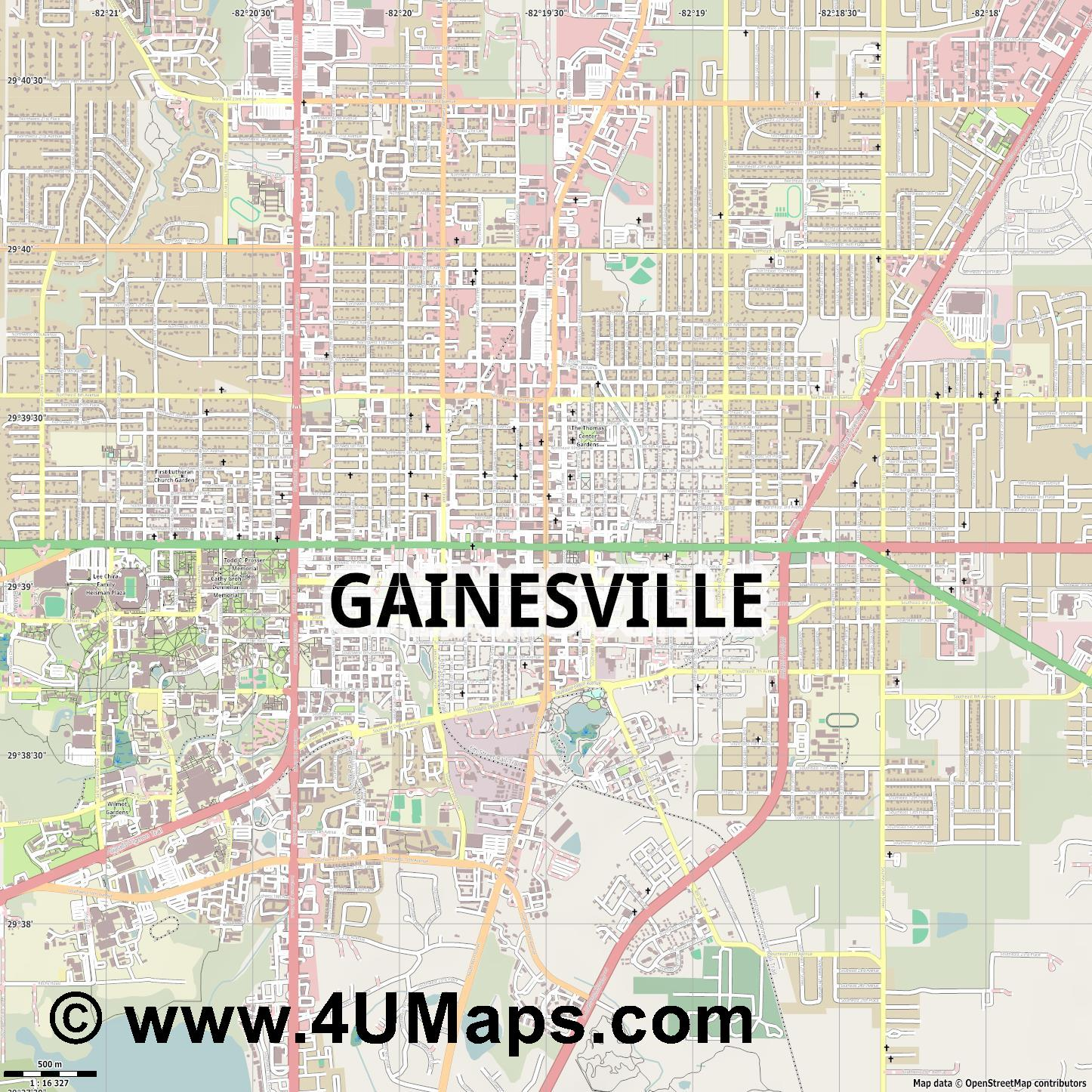 Gainesville  jpg ultra high detail preview vector city map