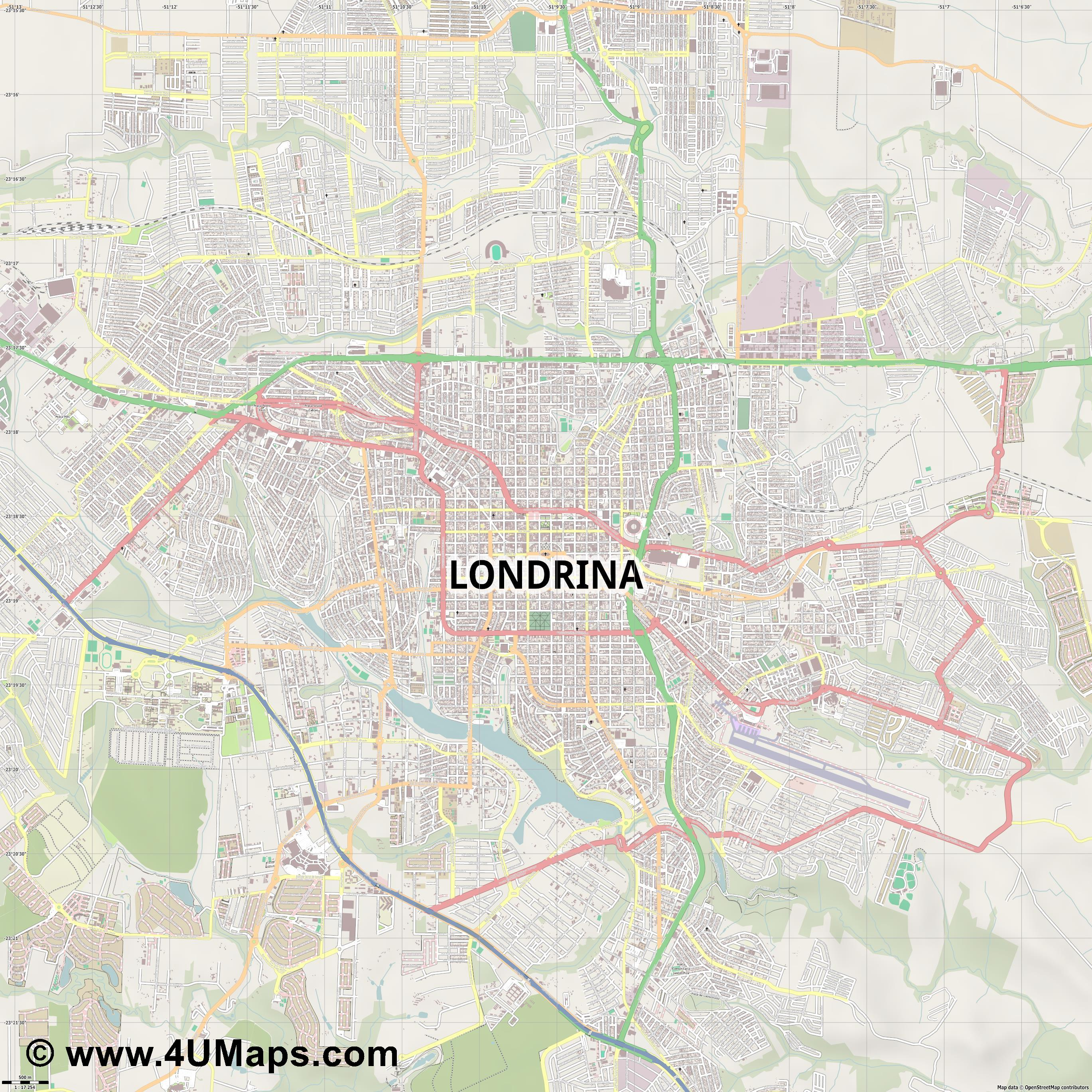 Svg Scalable Vector City Map Londrina - Londrina map