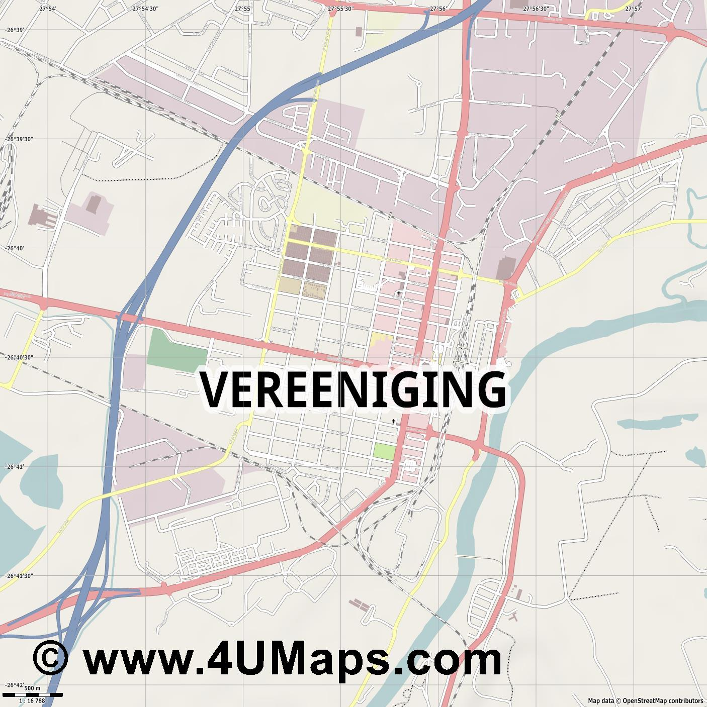 Vereeniging  jpg ultra high detail preview vector city map