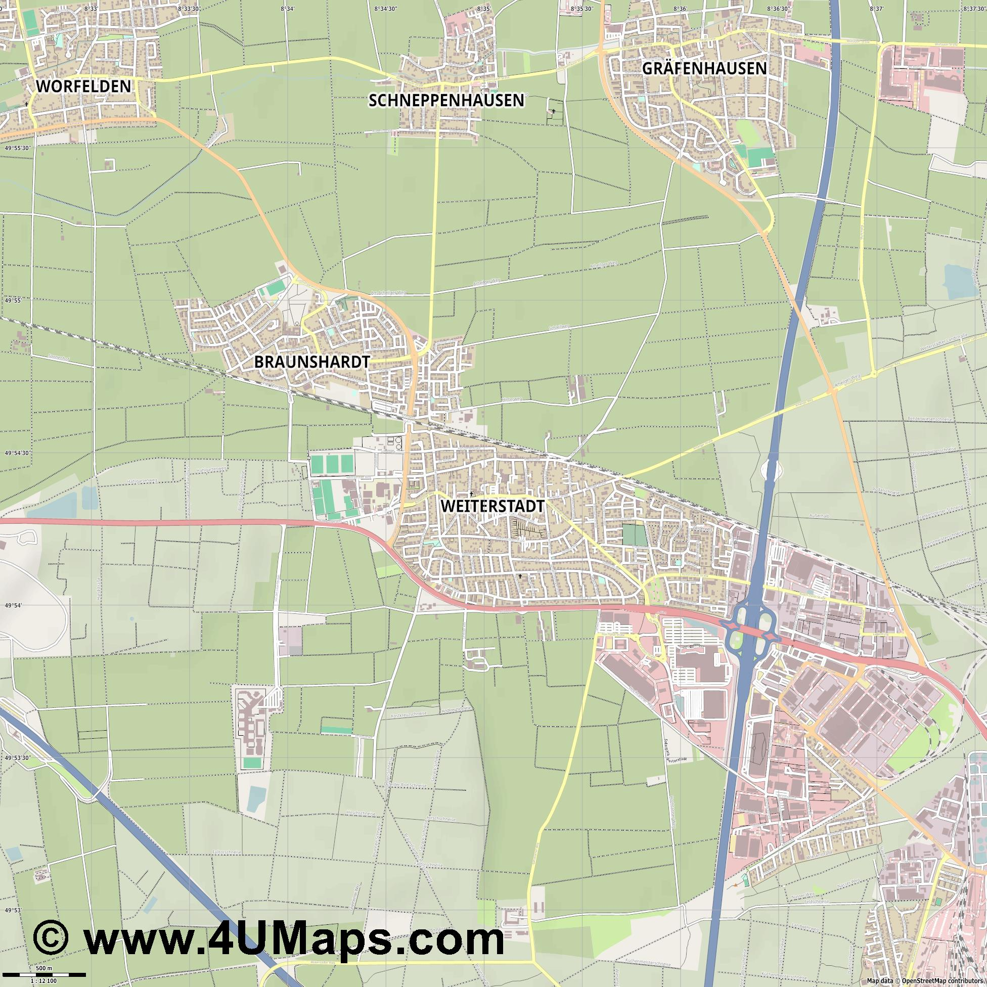 Weiterstadt  jpg ultra high detail preview vector city map
