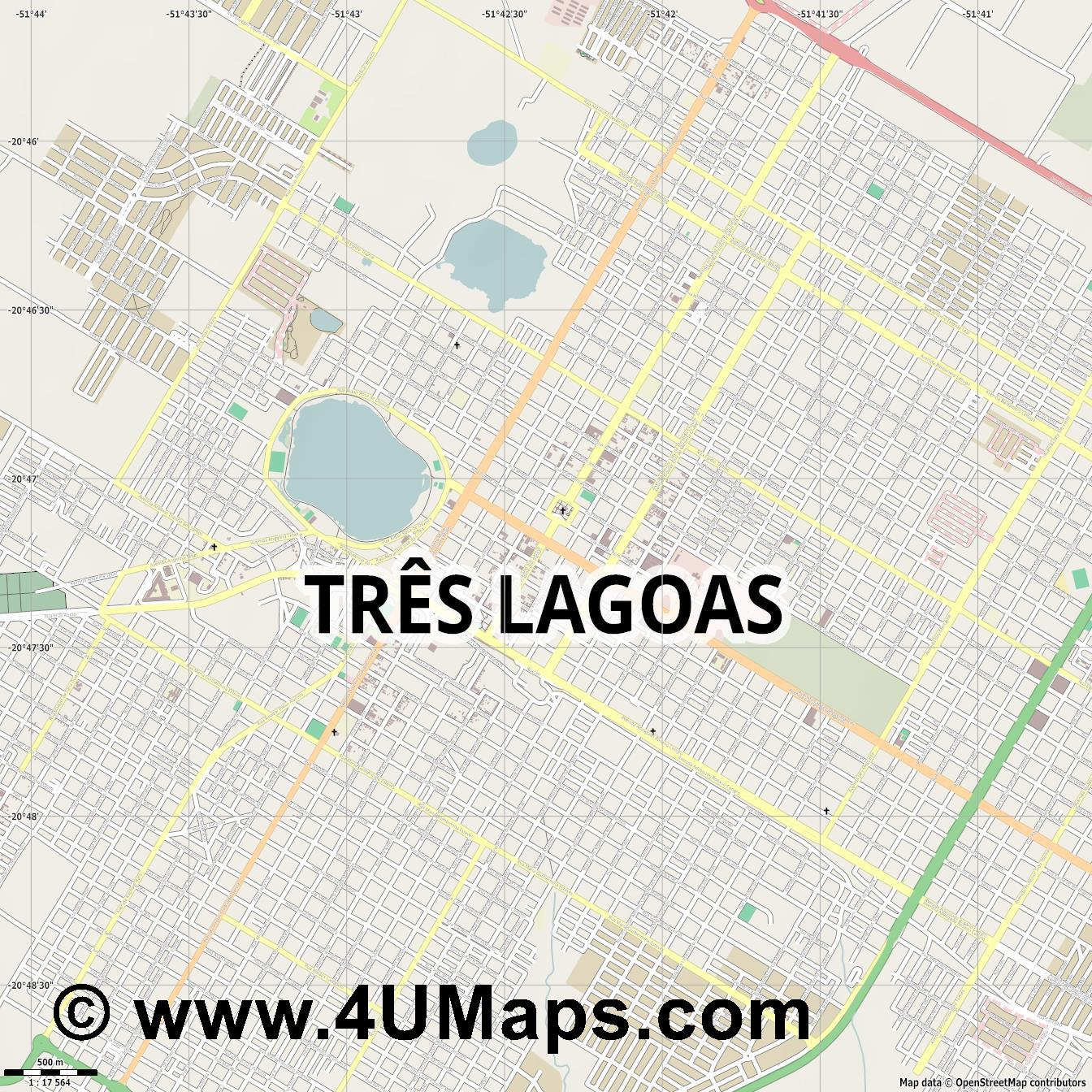 Três Lagoas  jpg ultra high detail preview vector city map