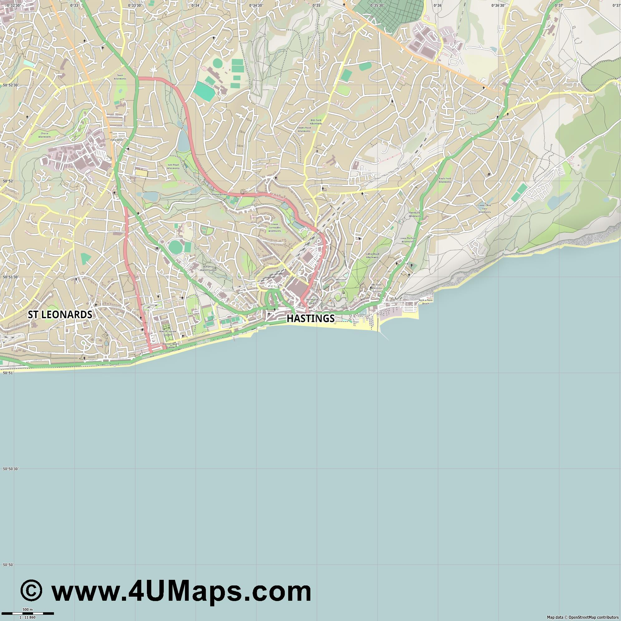 Hastings  jpg ultra high detail preview vector city map