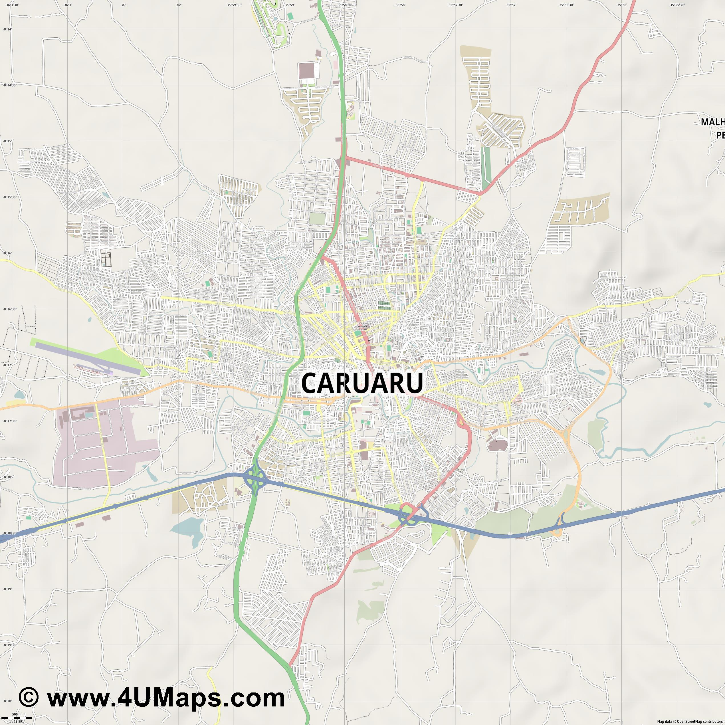 Caruaru  jpg ultra high detail preview vector city map