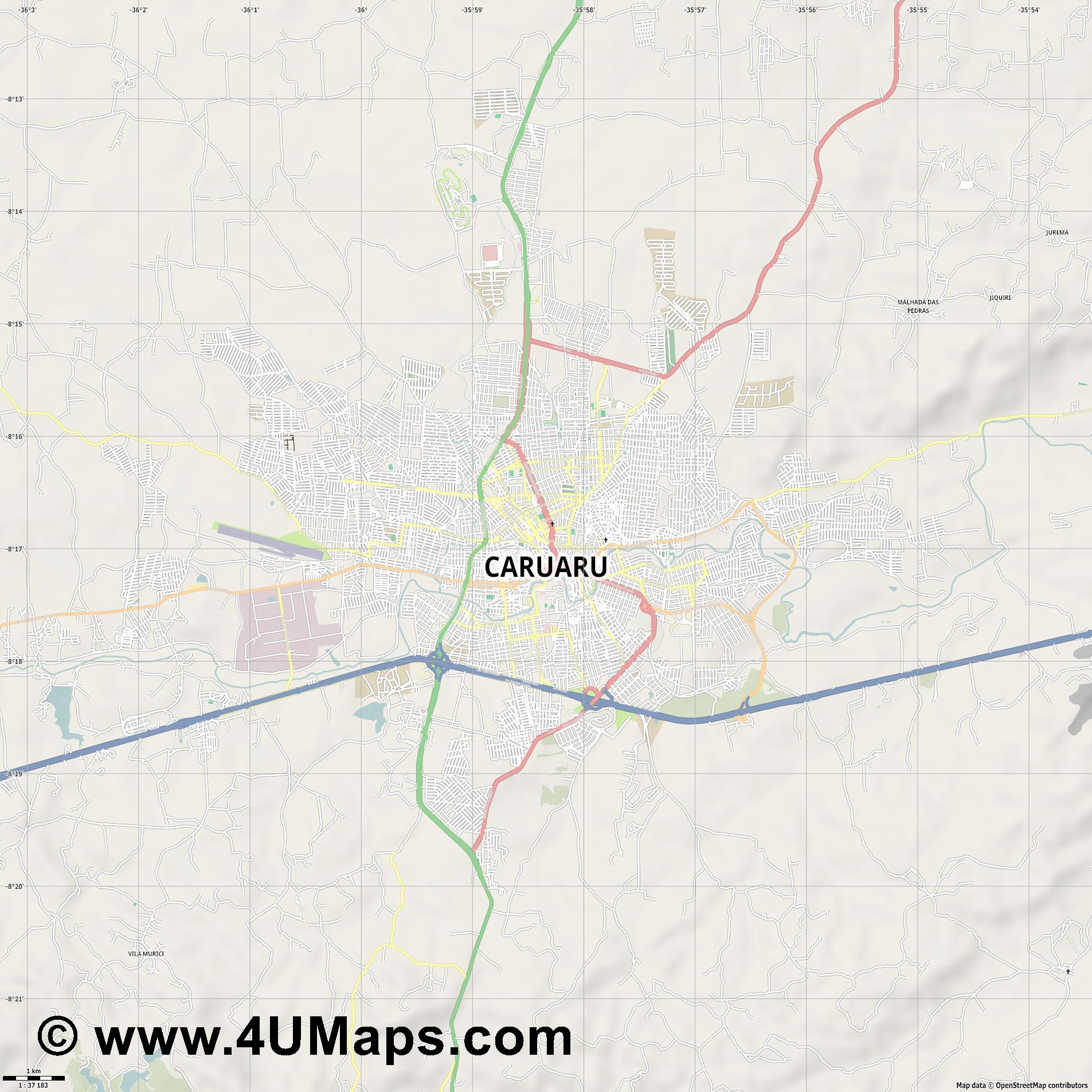 Caruaru  jpg high detail, large area preview vector city map