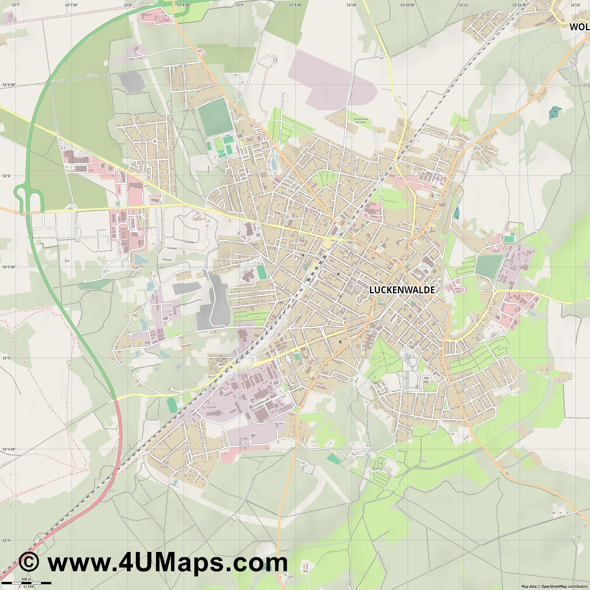 Luckenwalde  jpg ultra high detail preview vector city map