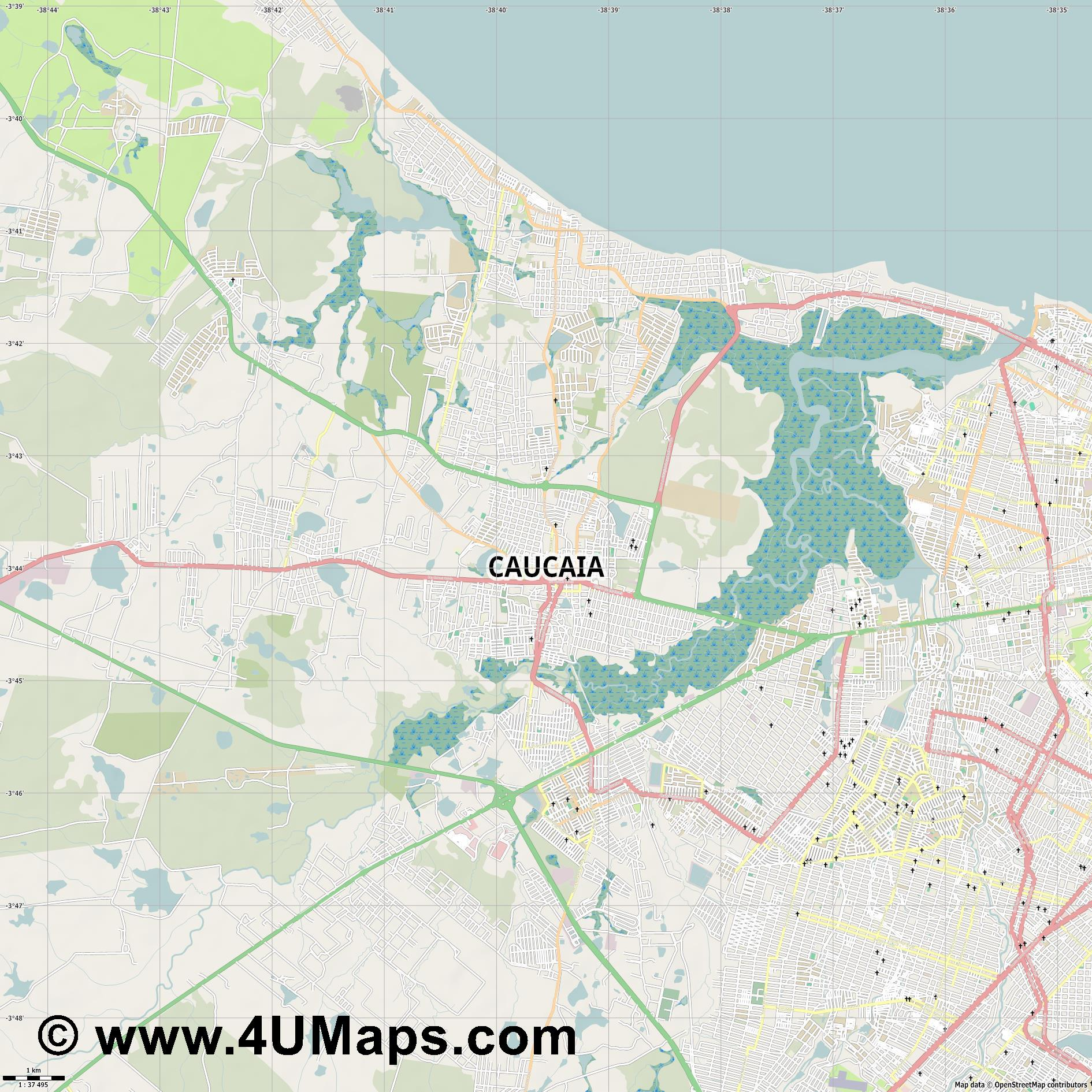 Caucaia  jpg high detail, large area preview vector city map