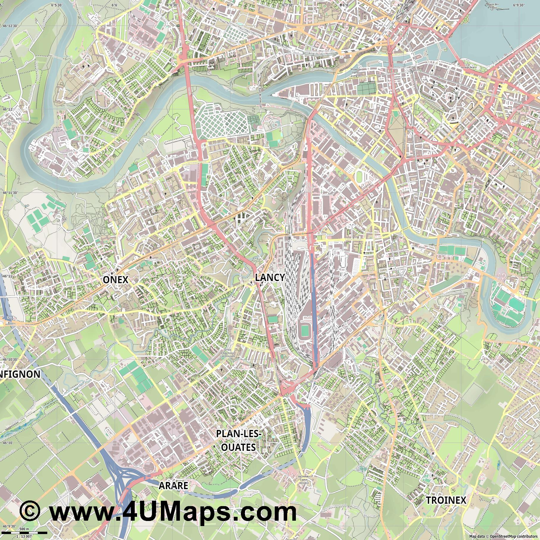 Lancy  jpg ultra high detail preview vector city map