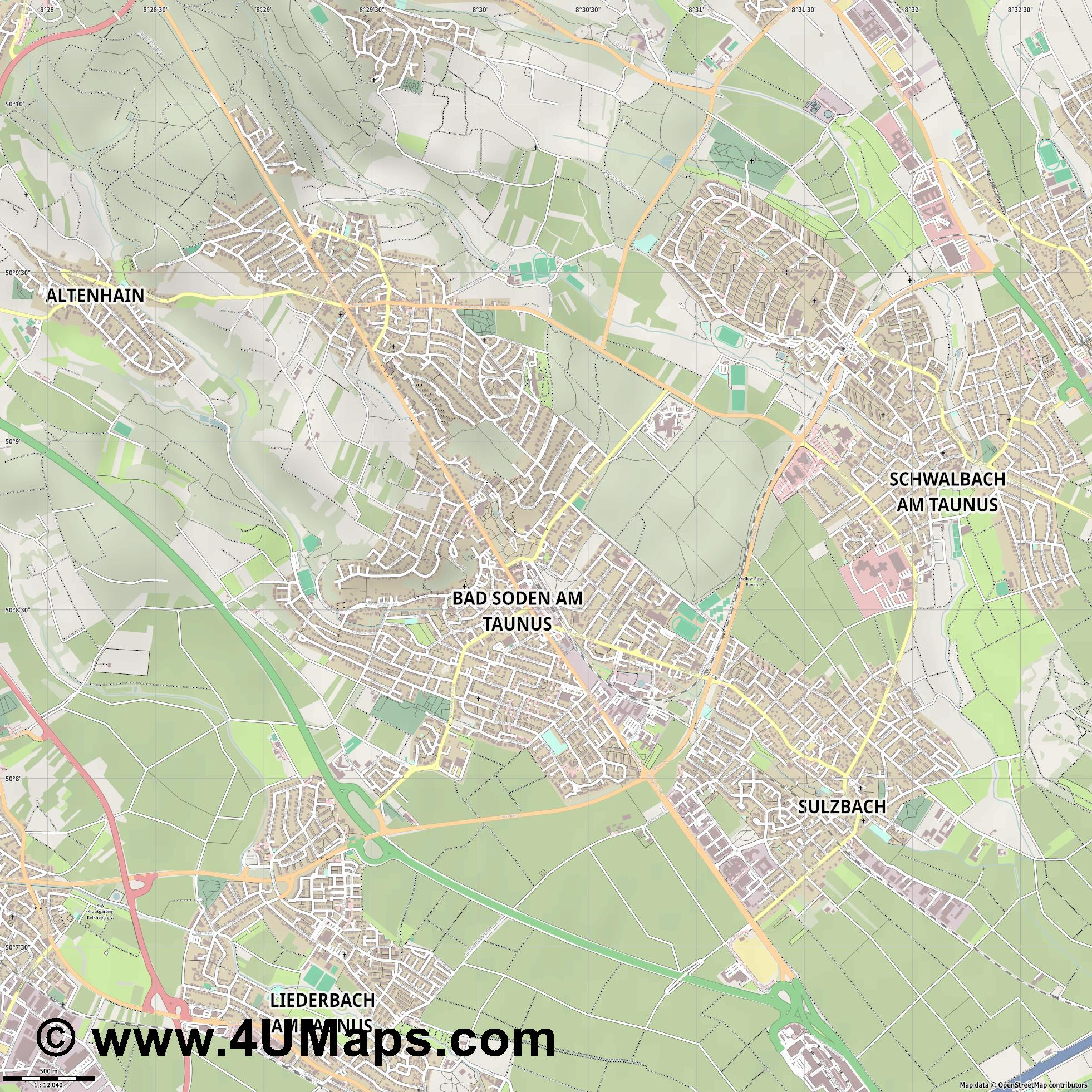 Bad Soden am Taunus  jpg ultra high detail preview vector city map