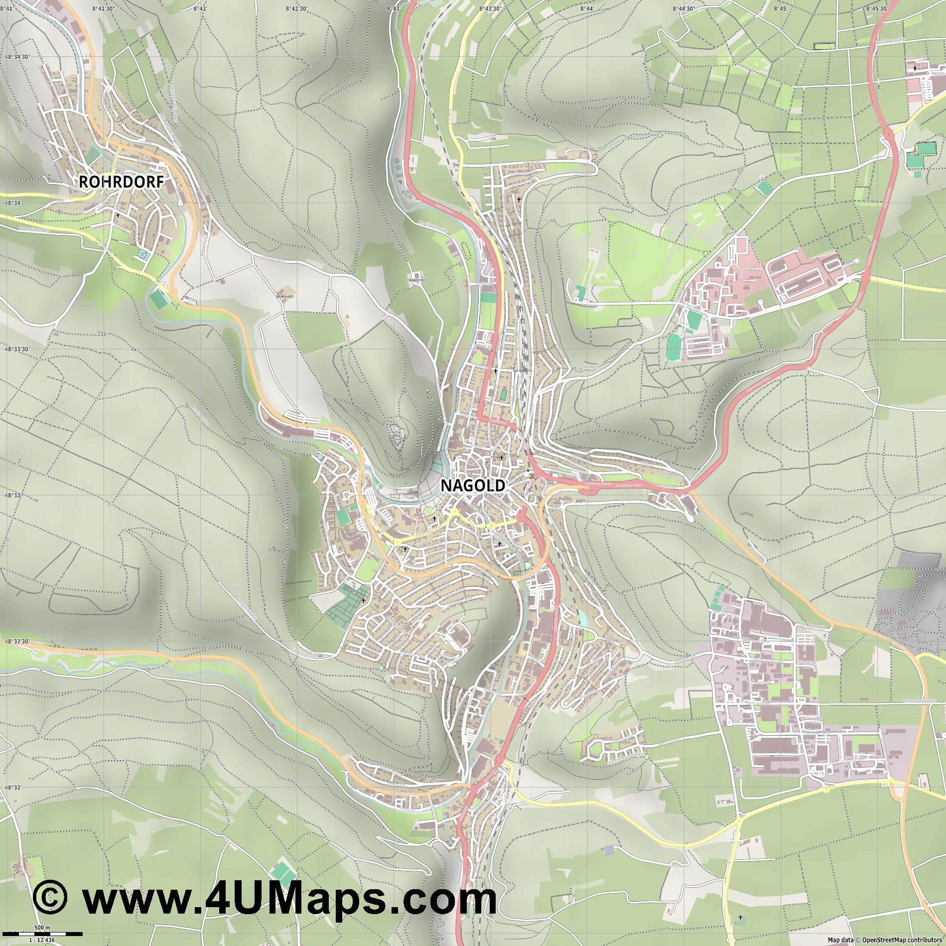 Nagold  jpg ultra high detail preview vector city map