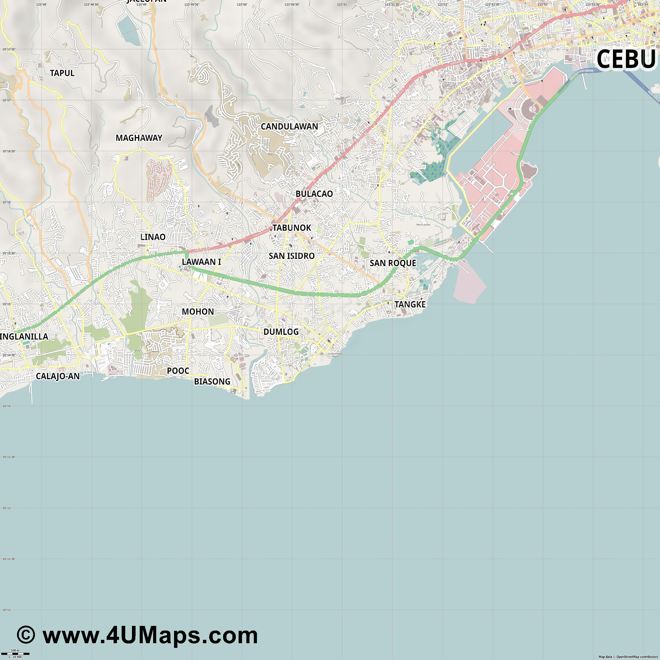 Talisay  jpg ultra high detail preview vector city map
