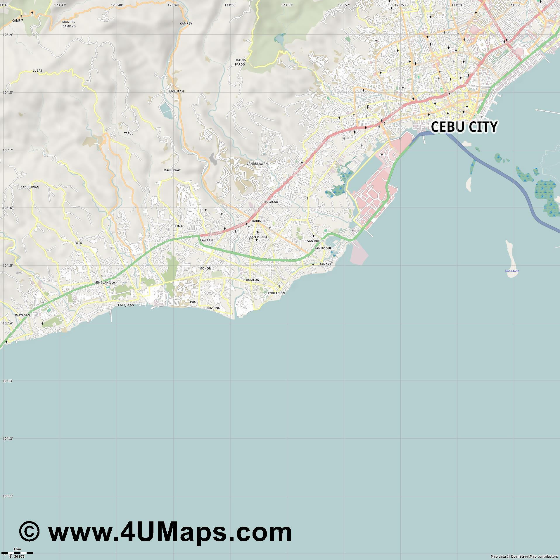 Talisay  jpg high detail, large area preview vector city map