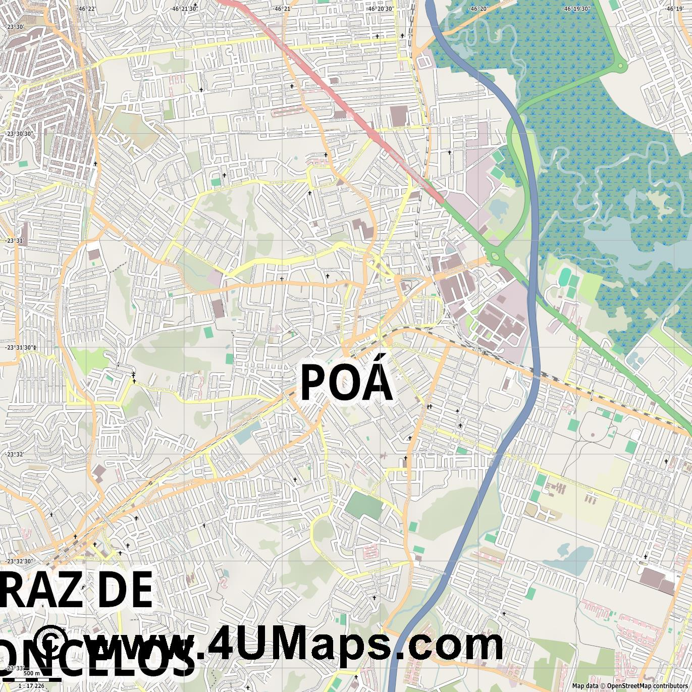 Poá  jpg ultra high detail preview vector city map
