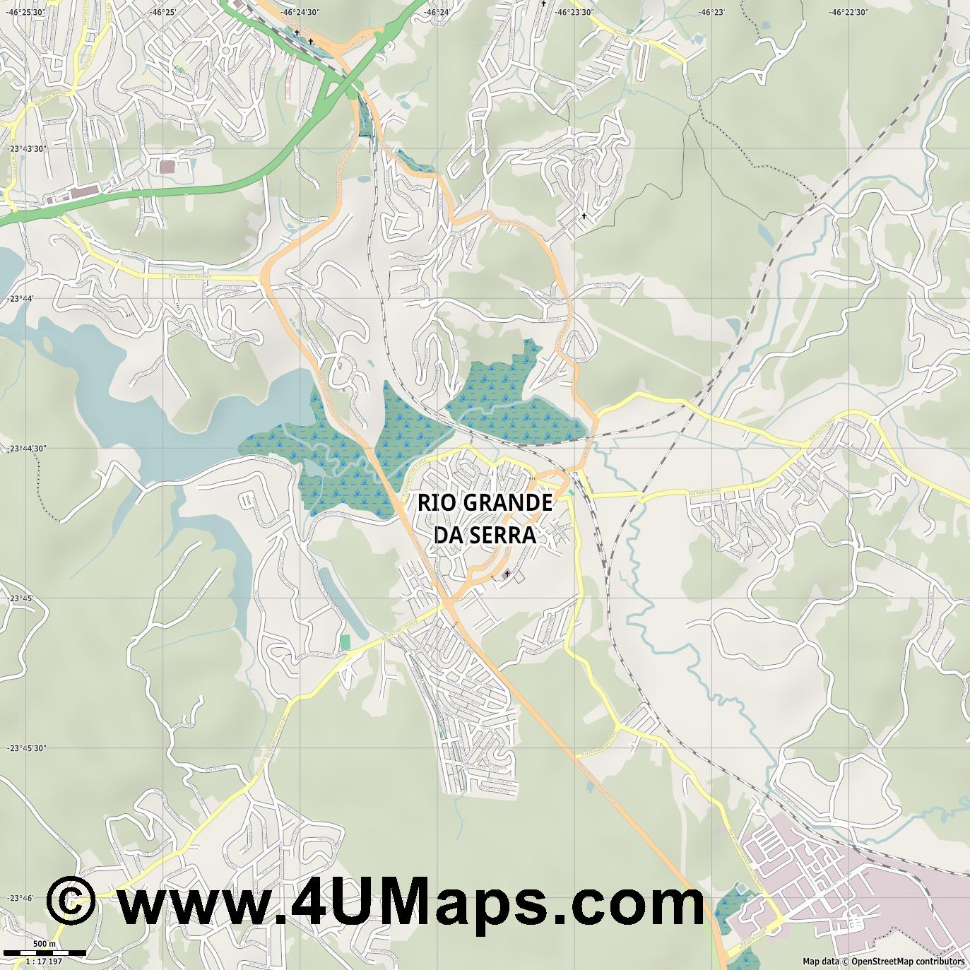 Rio Grande da Serra  jpg ultra high detail preview vector city map