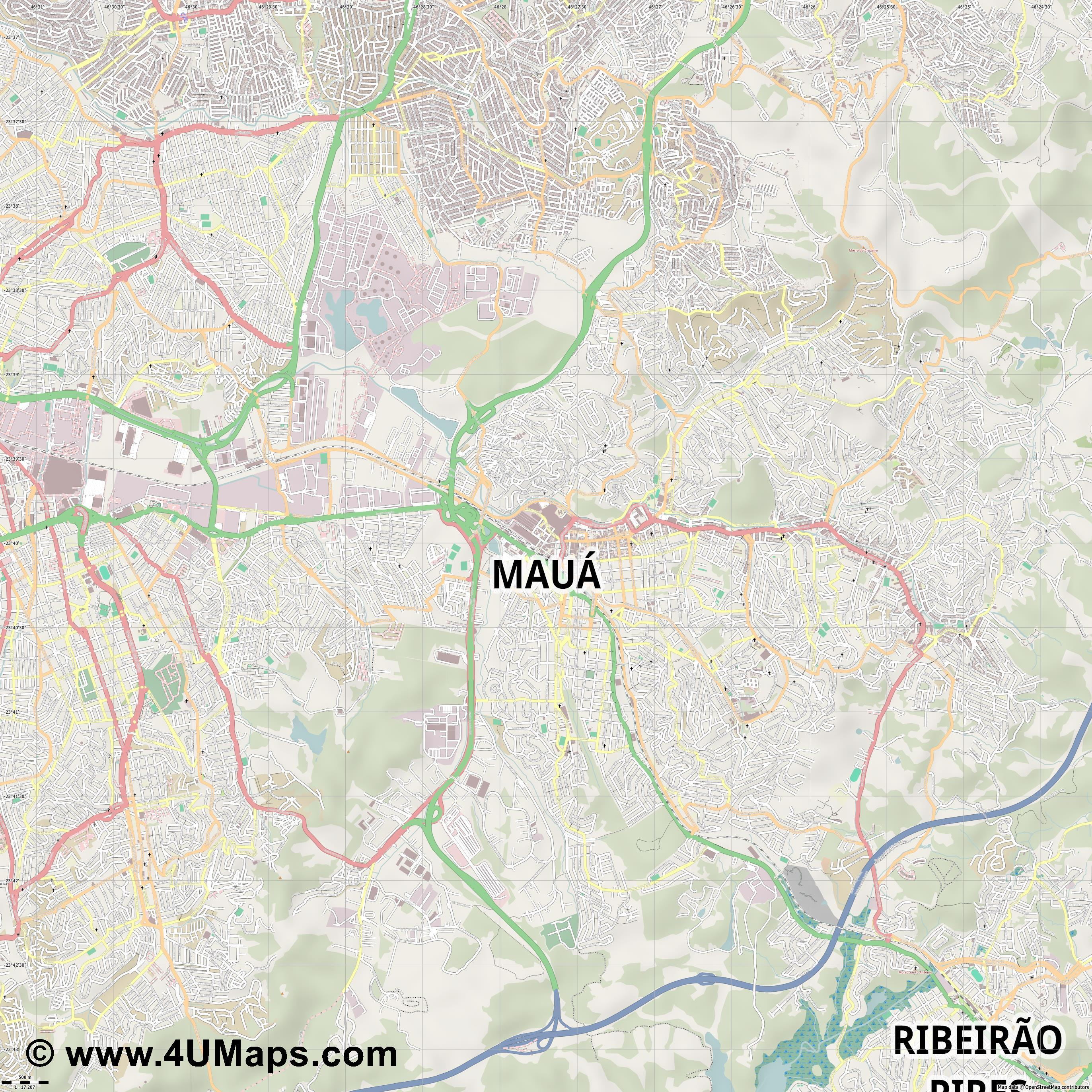 Mauá  jpg ultra high detail preview vector city map