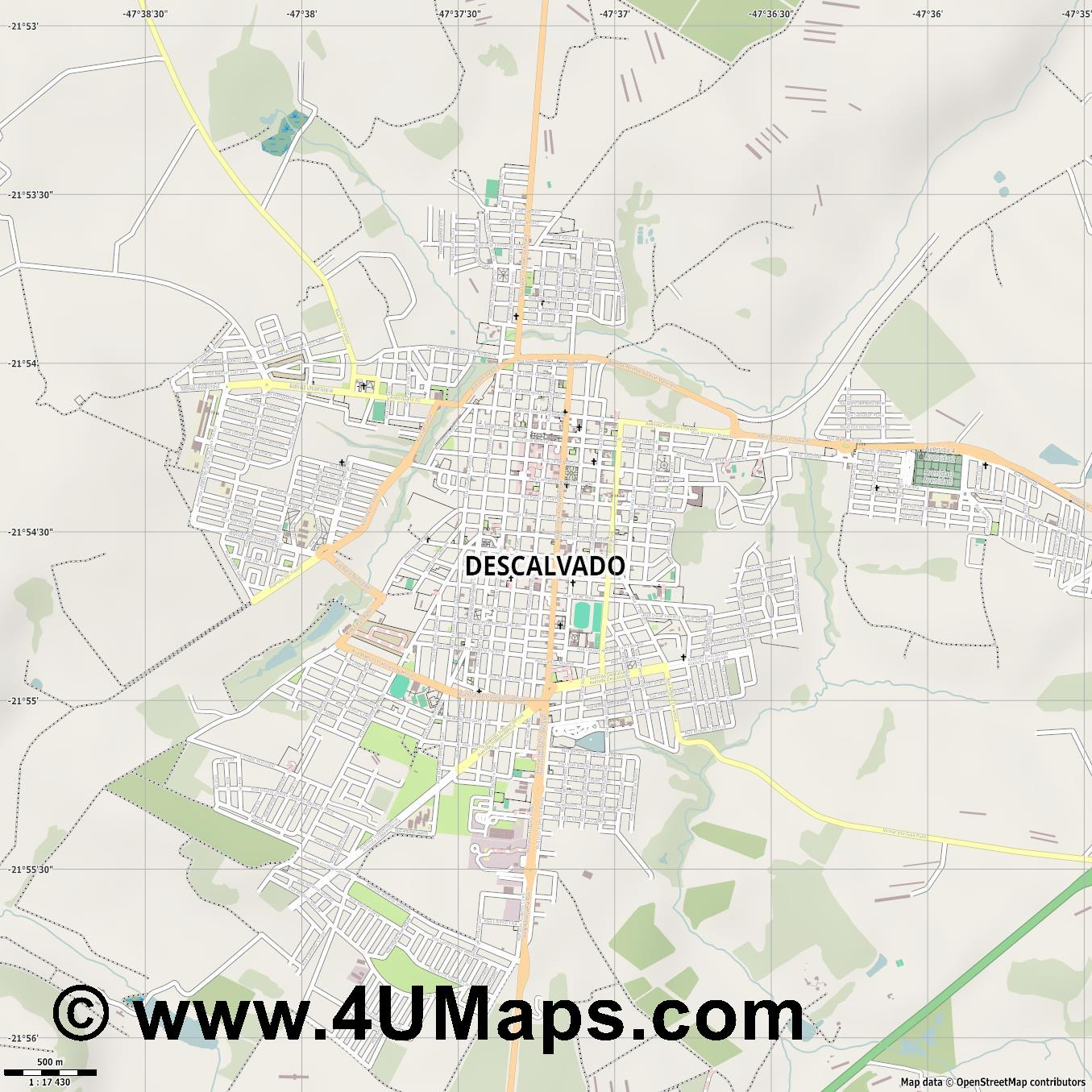 Descalvado  jpg ultra high detail preview vector city map