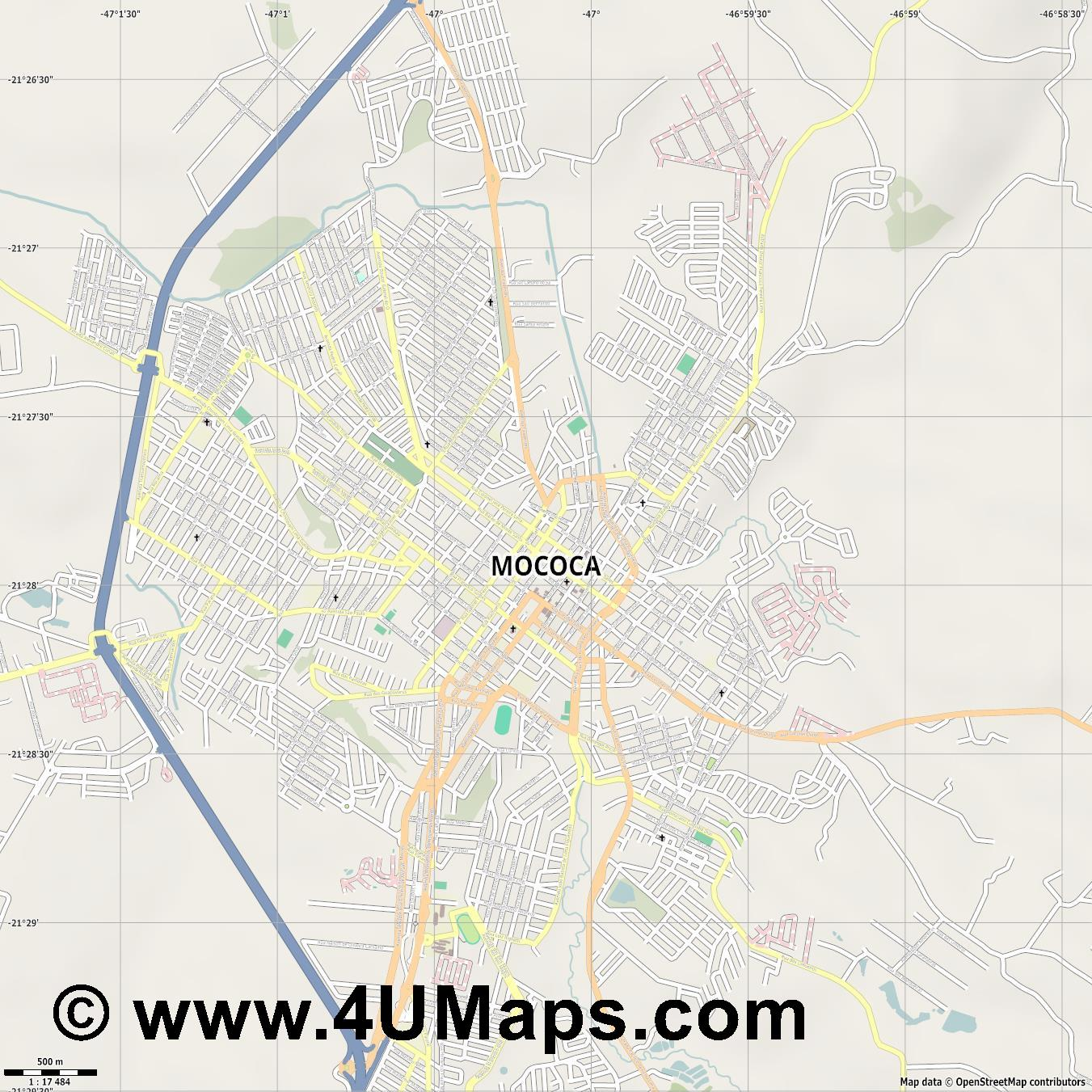 Mococa  jpg ultra high detail preview vector city map