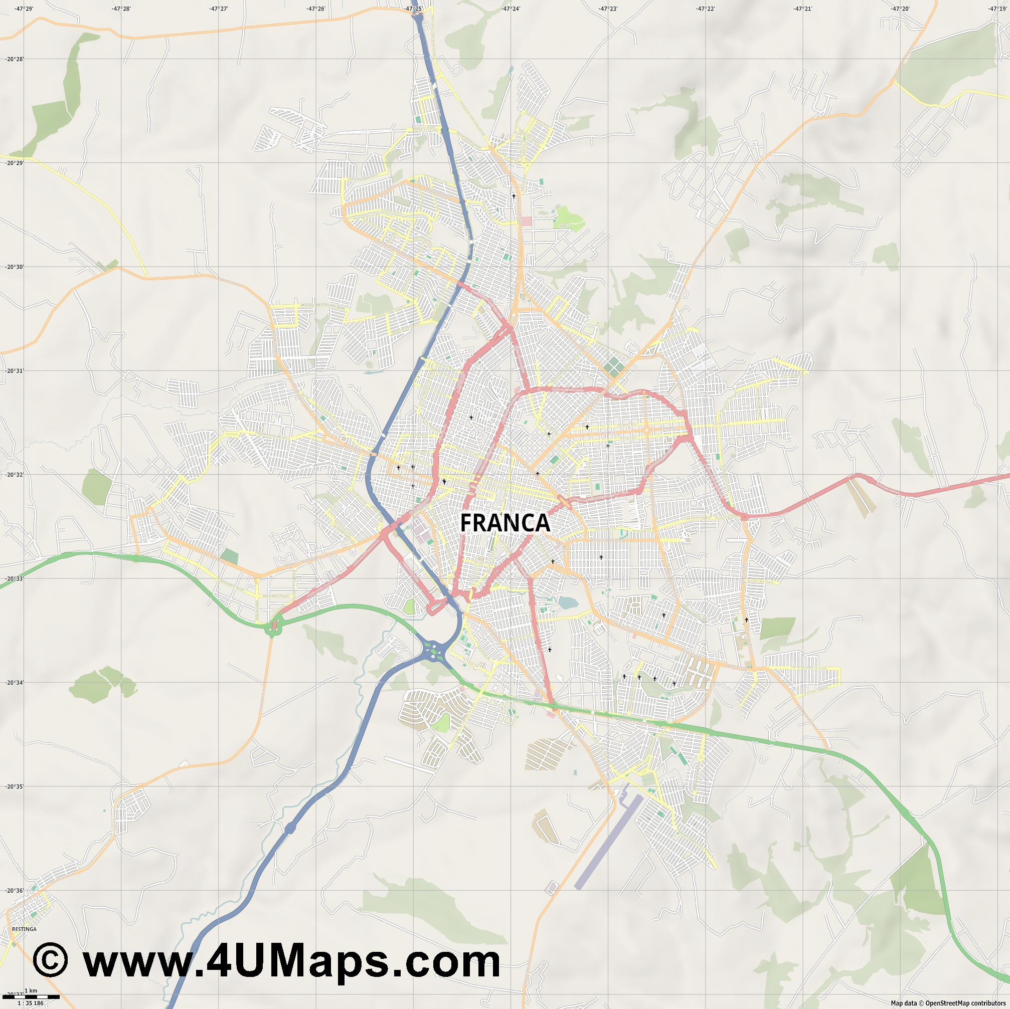 Franca  jpg high detail, large area preview vector city map