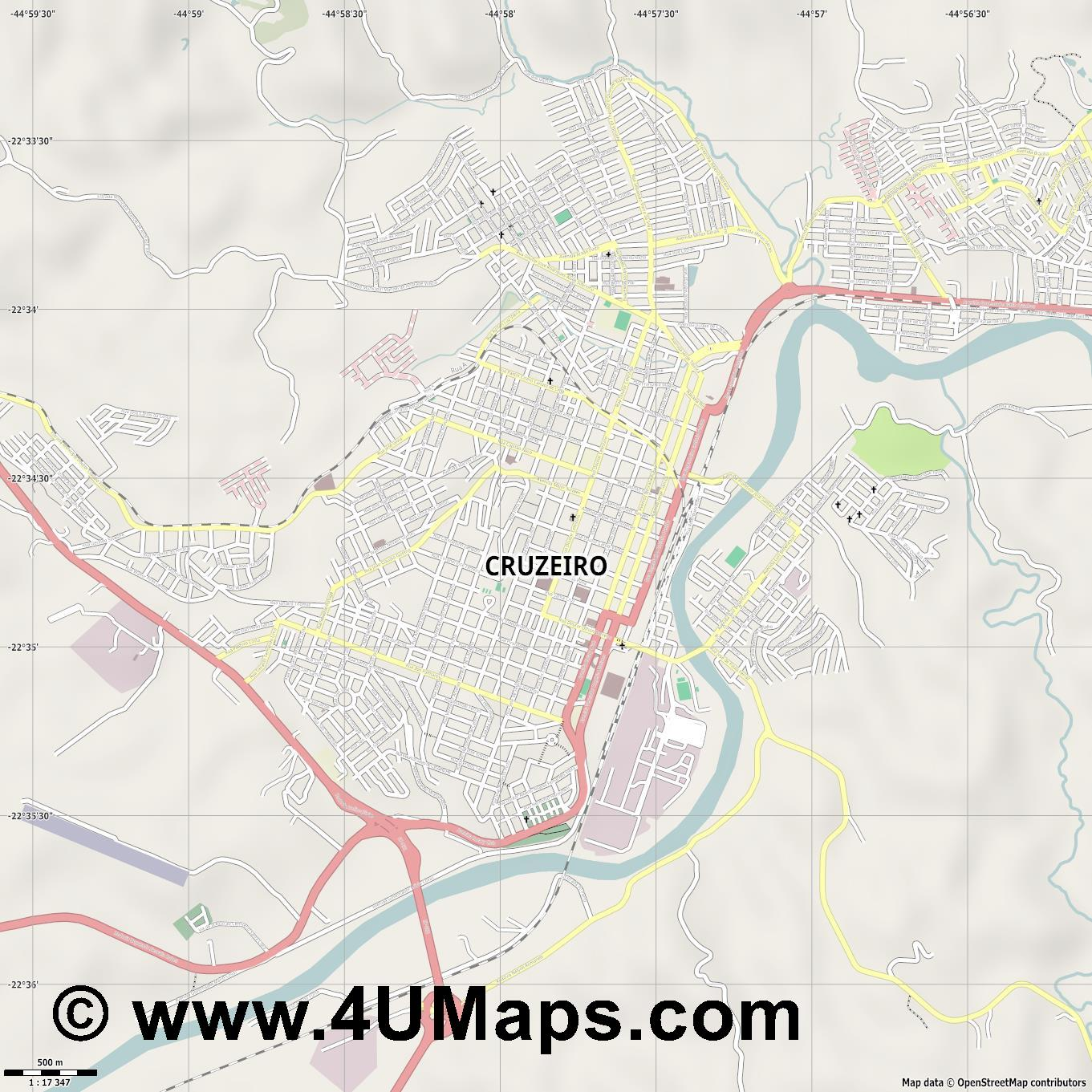 Cruzeiro  jpg ultra high detail preview vector city map