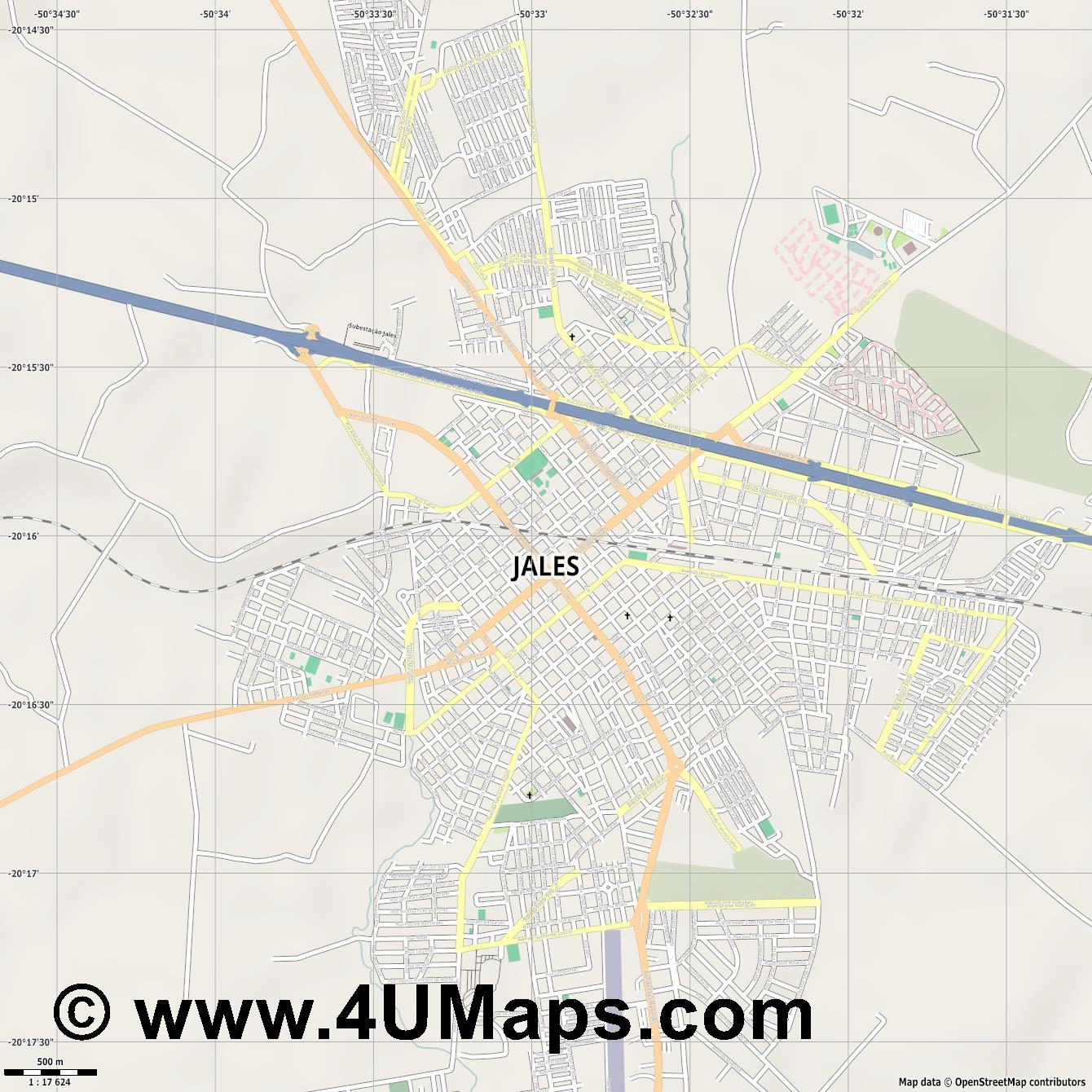 Jales  jpg ultra high detail preview vector city map