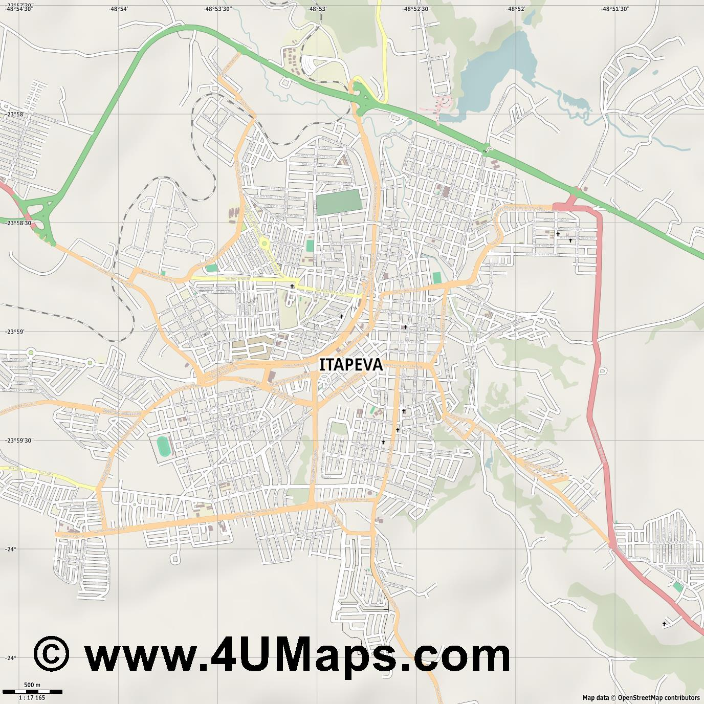 Itapeva  jpg ultra high detail preview vector city map