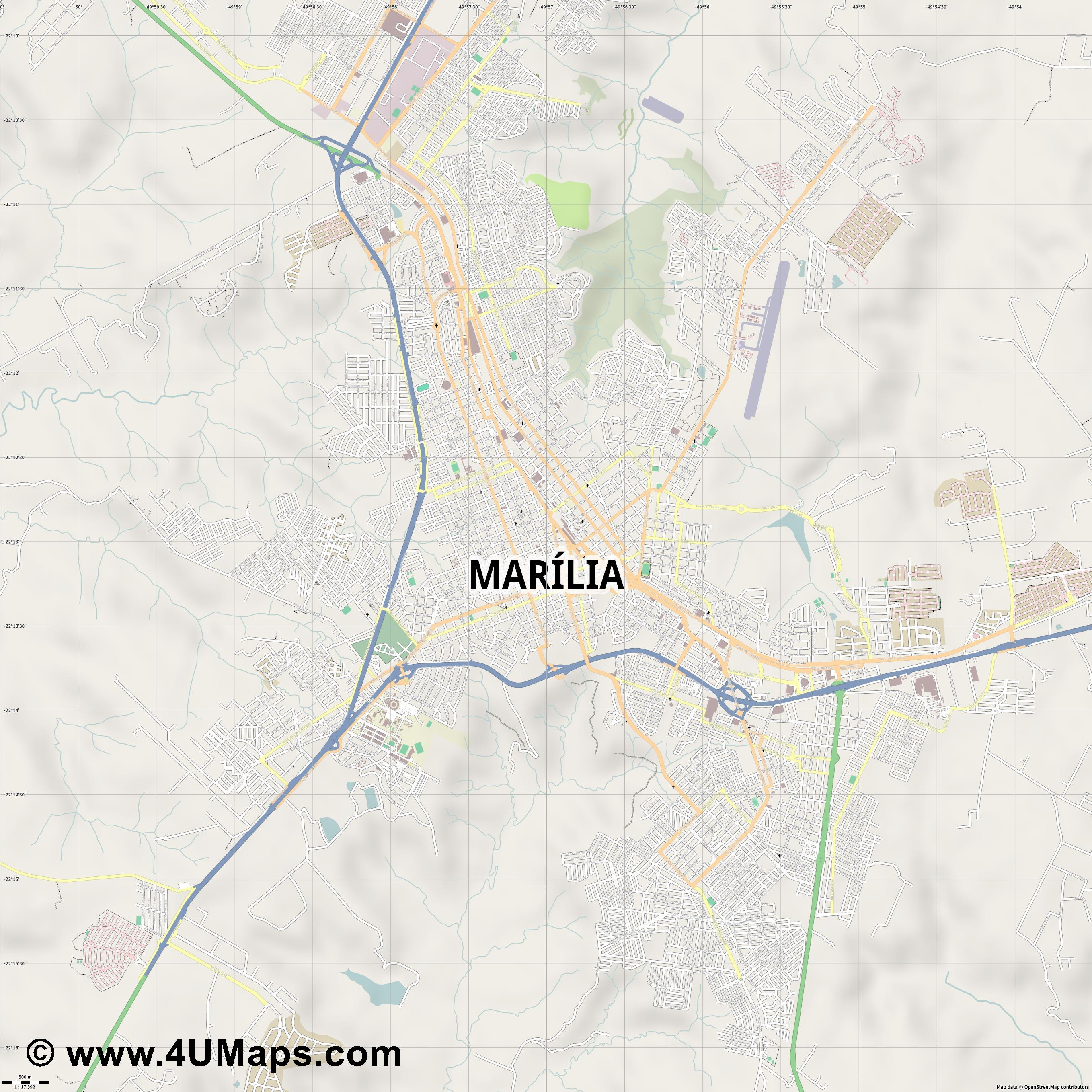 Marília  jpg ultra high detail preview vector city map