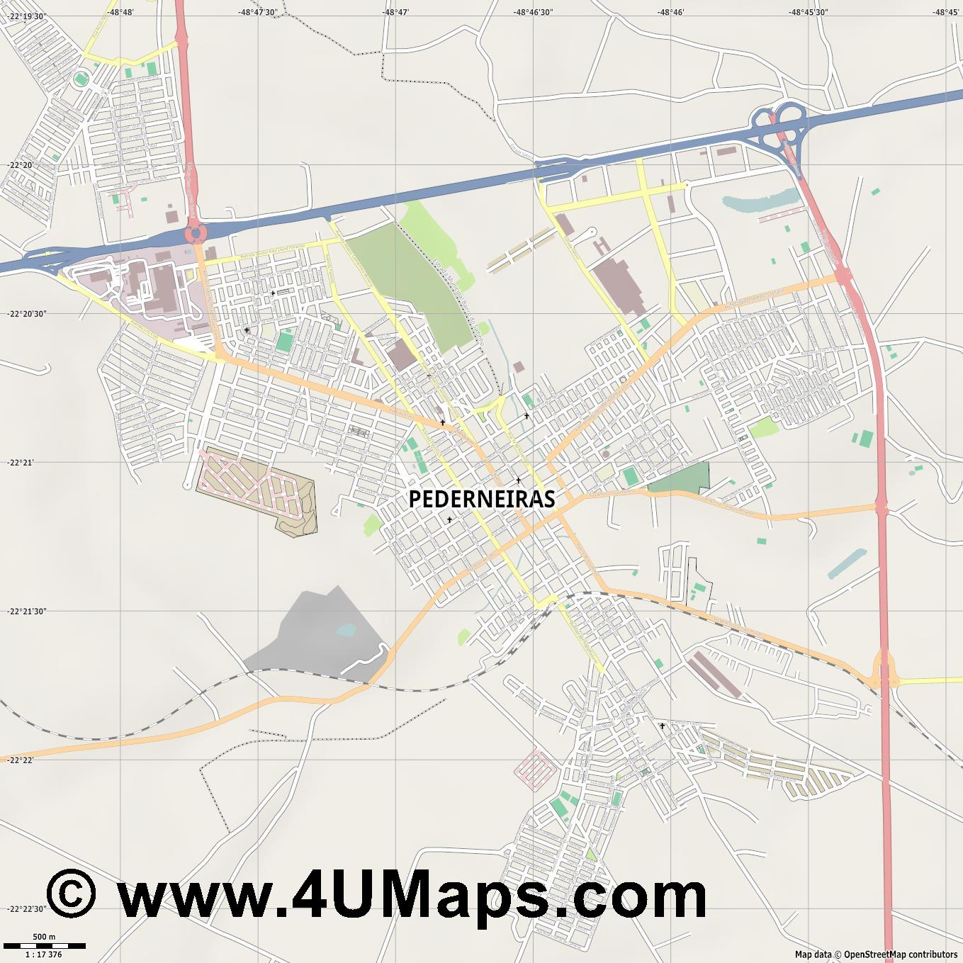 Pederneiras  jpg ultra high detail preview vector city map