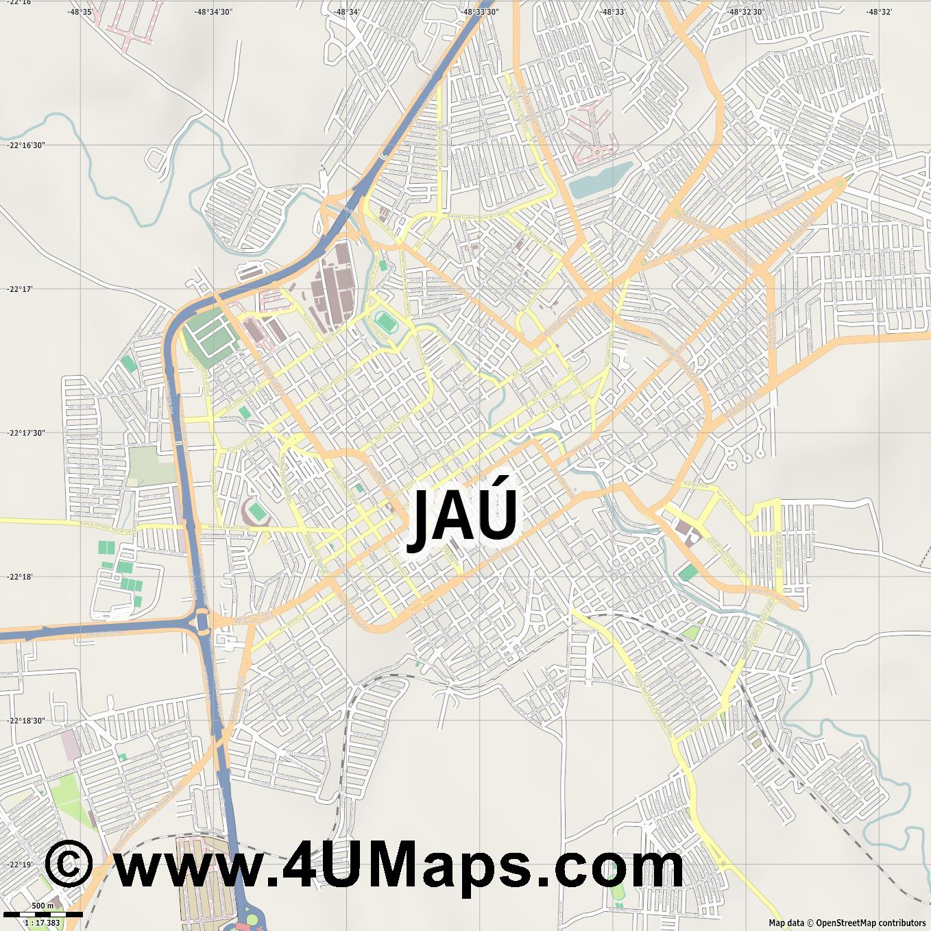 Jaú  jpg ultra high detail preview vector city map