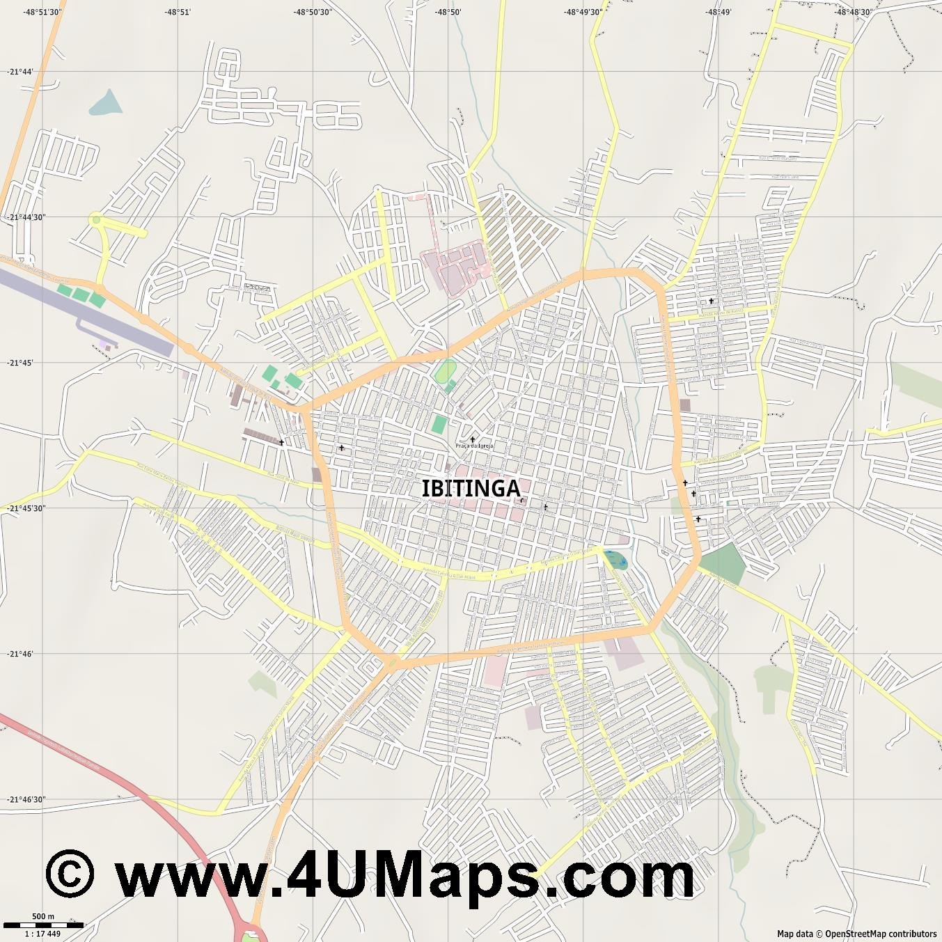 Ibitinga  jpg ultra high detail preview vector city map
