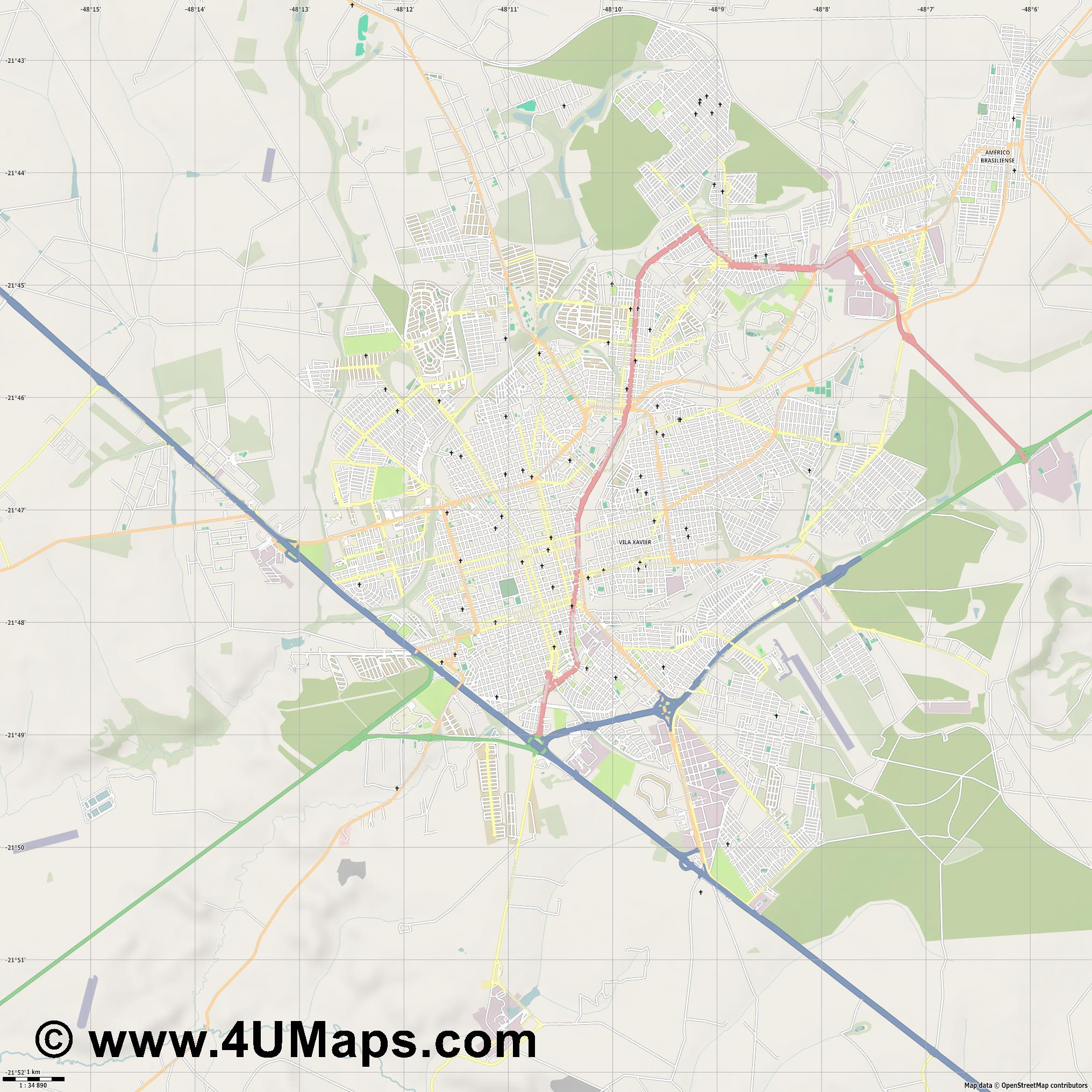 Araraquara  jpg high detail, large area preview vector city map