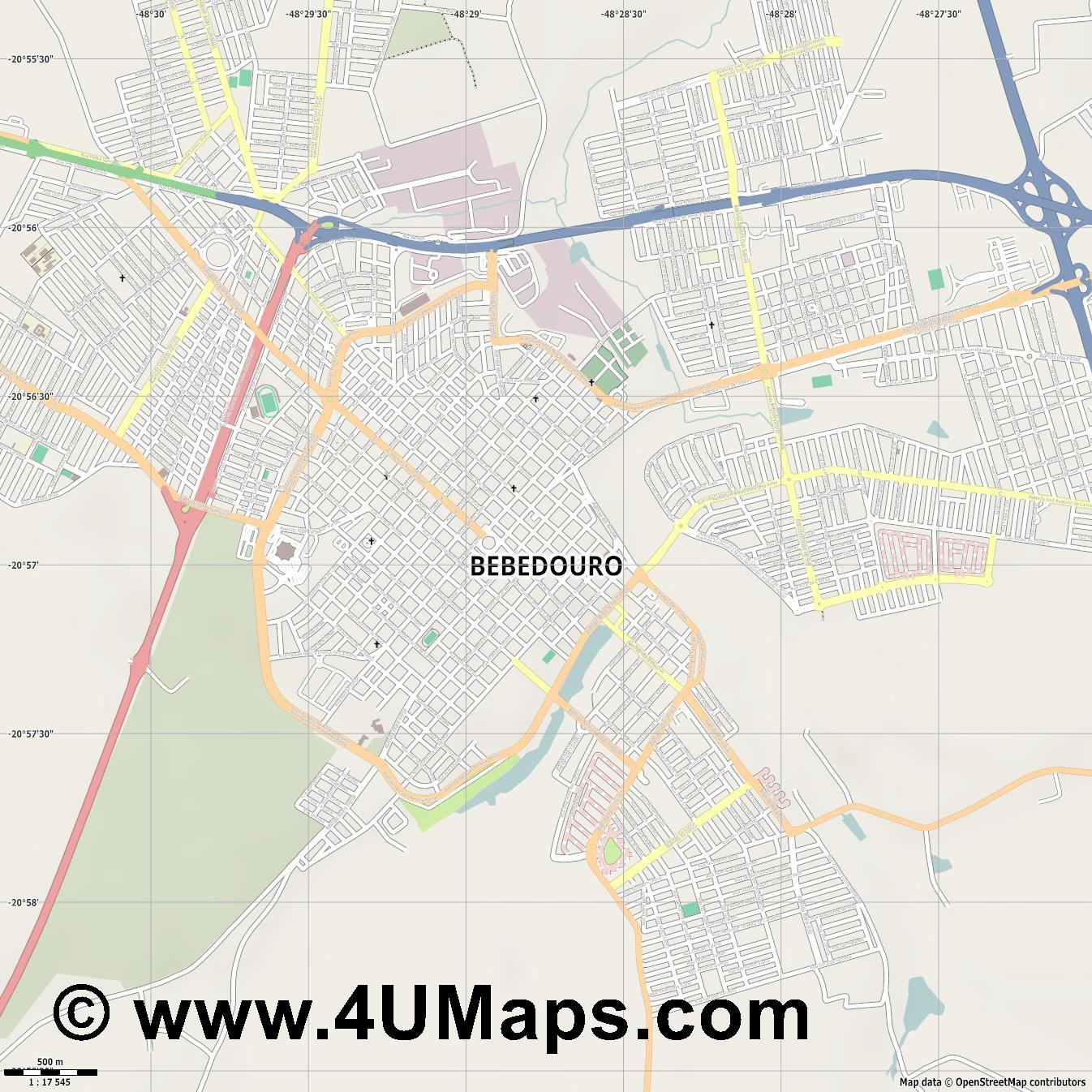 Bebedouro  jpg ultra high detail preview vector city map