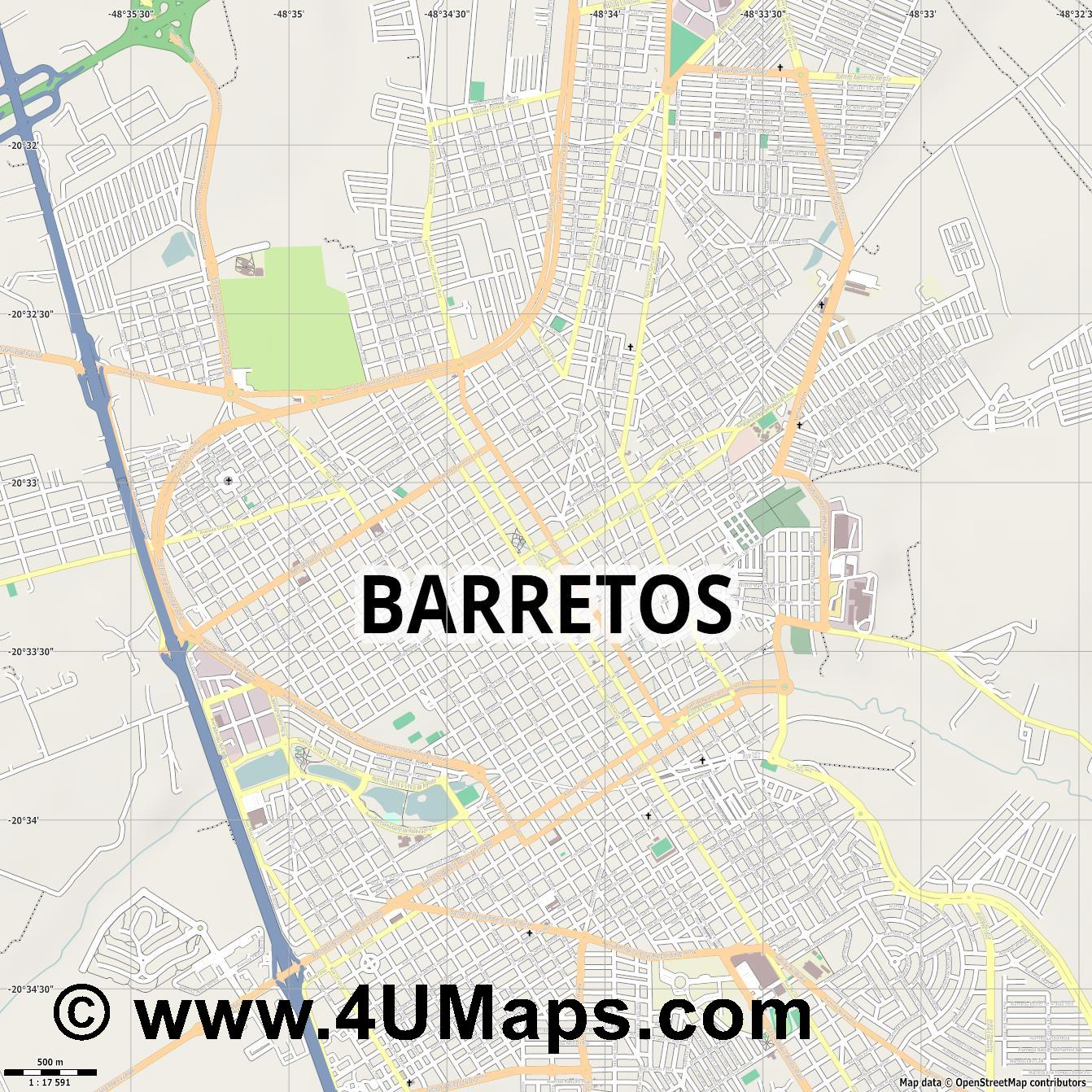 Barretos  jpg ultra high detail preview vector city map