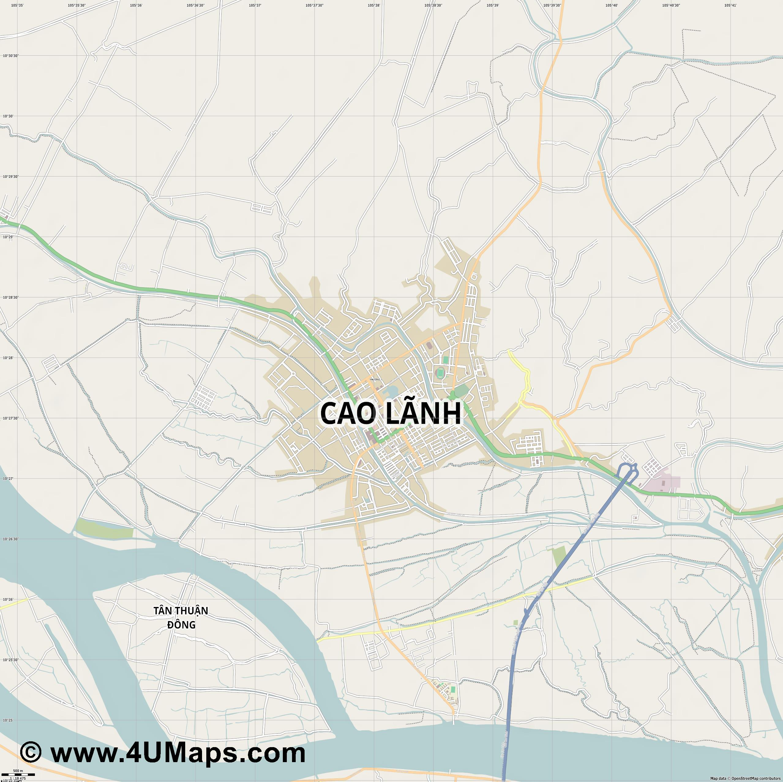 Cao Lãnh Cao Lanh  jpg ultra high detail preview vector city map