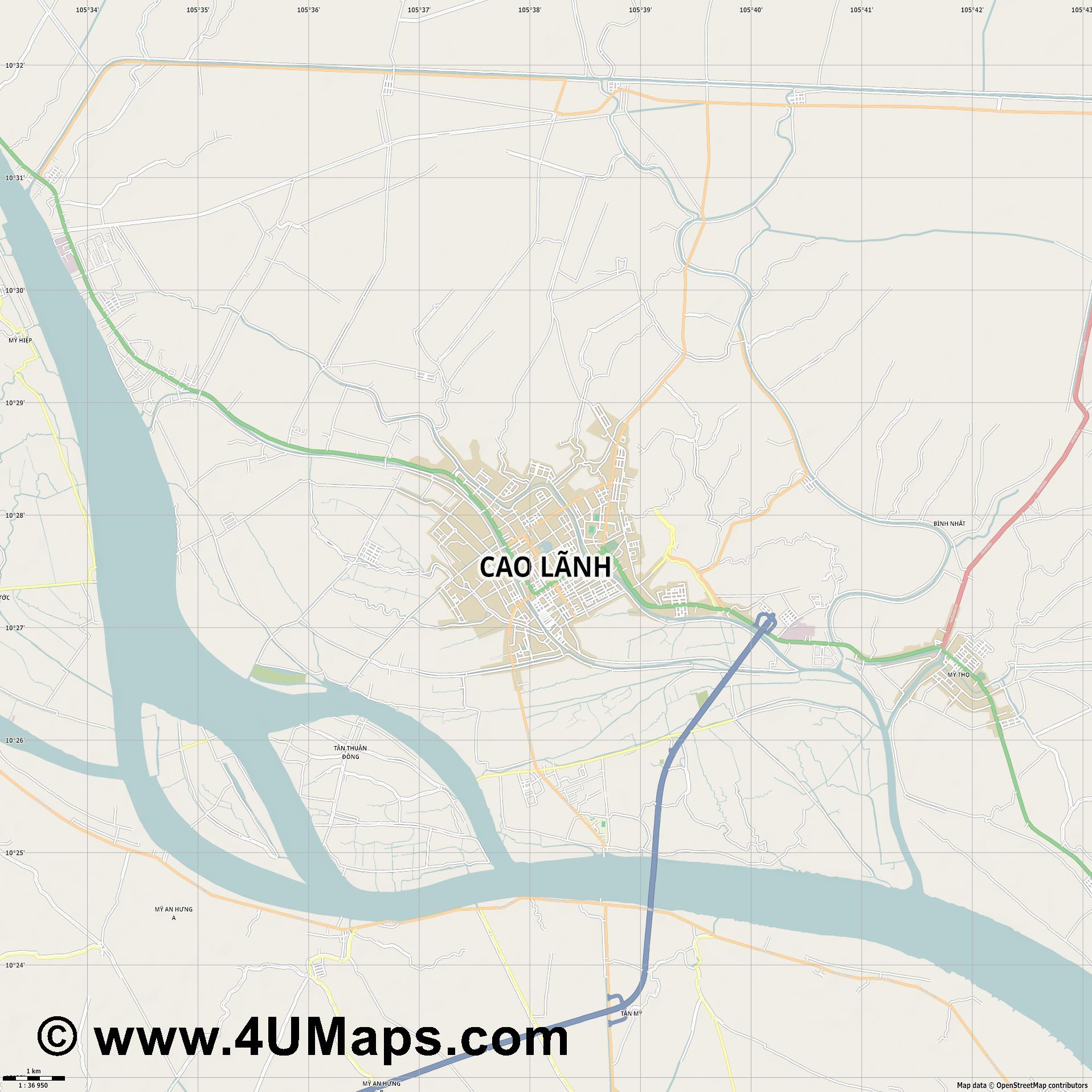Cao Lãnh Cao Lanh  jpg high detail, large area preview vector city map