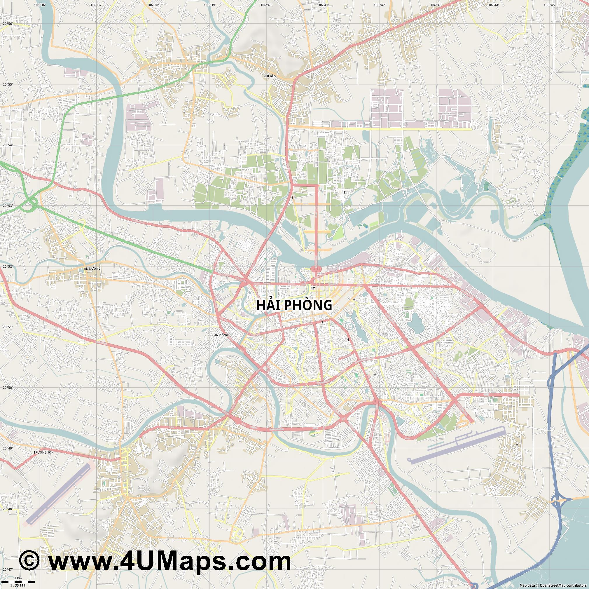 Hải Phòng Haïphong  jpg high detail, large area preview vector city map