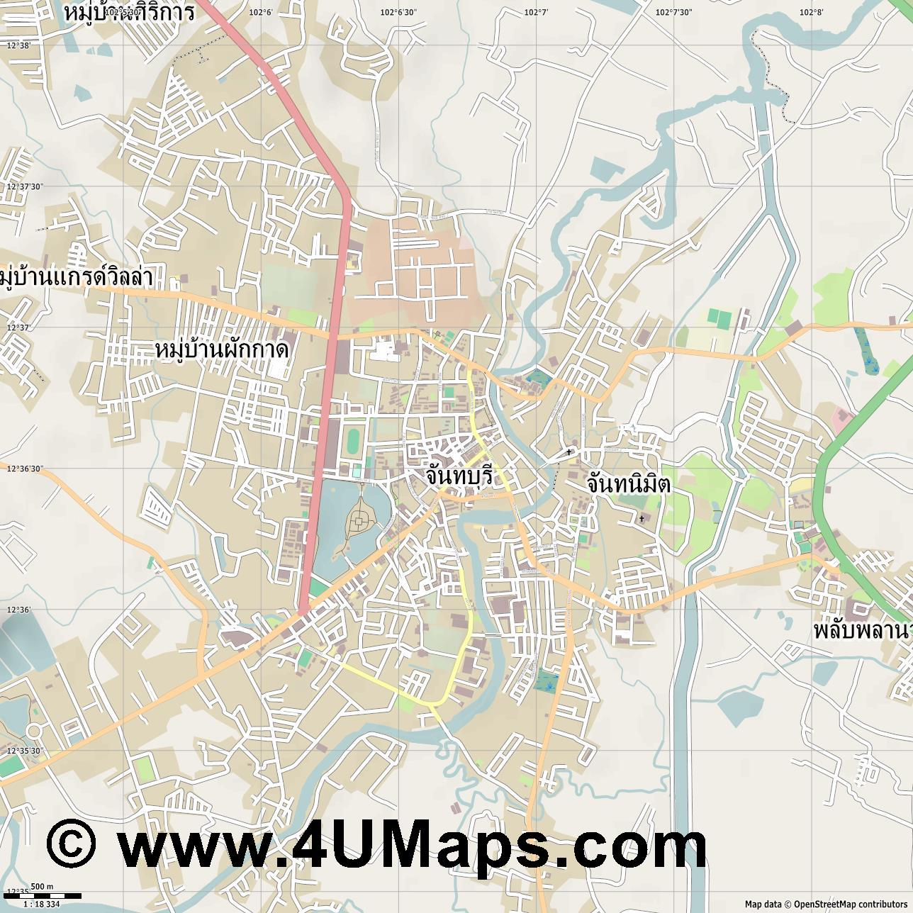 จ นทบ ร  Chanthaburi  jpg ultra high detail preview vector city map