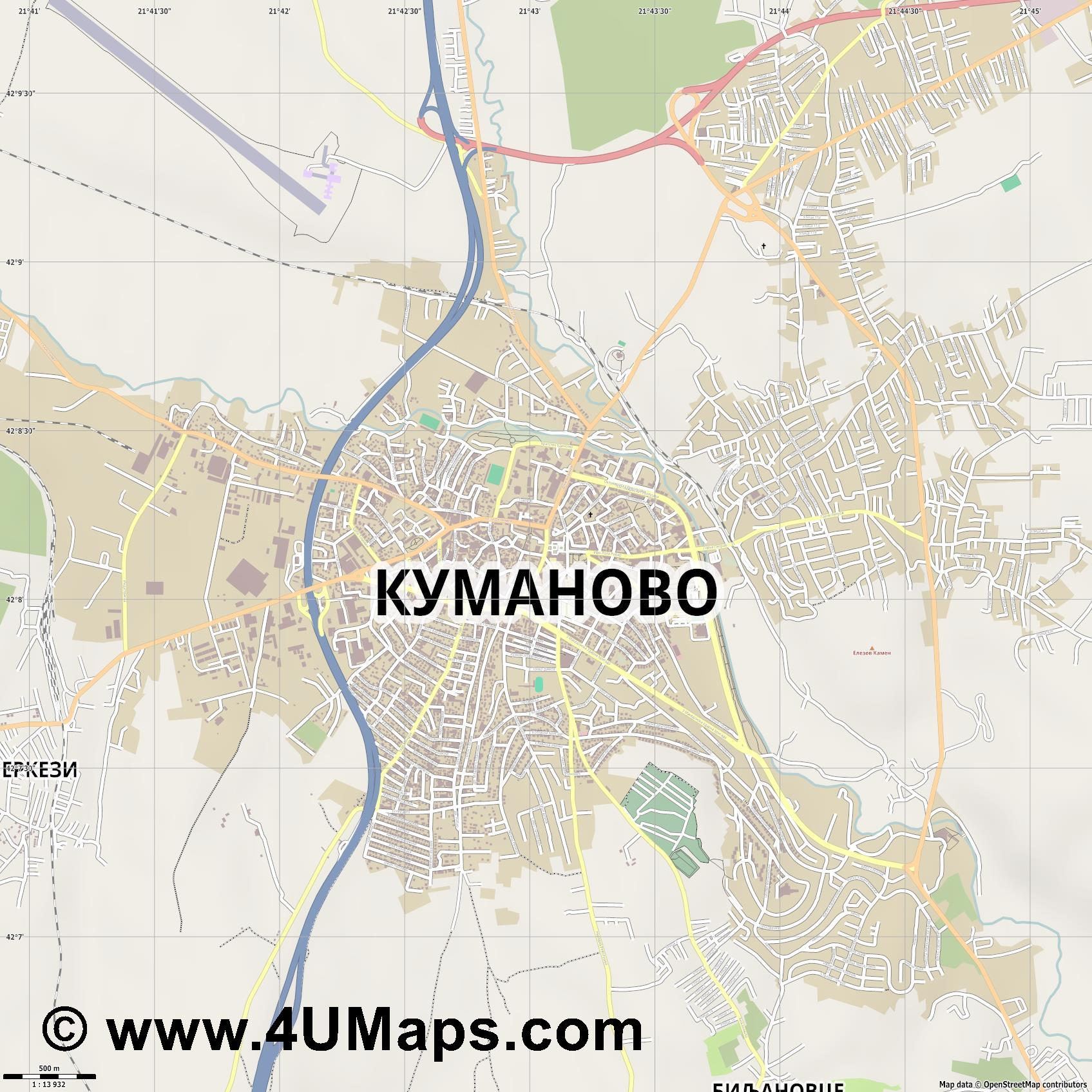 Куманово Kumanovo Koumanovo  jpg ultra high detail preview vector city map