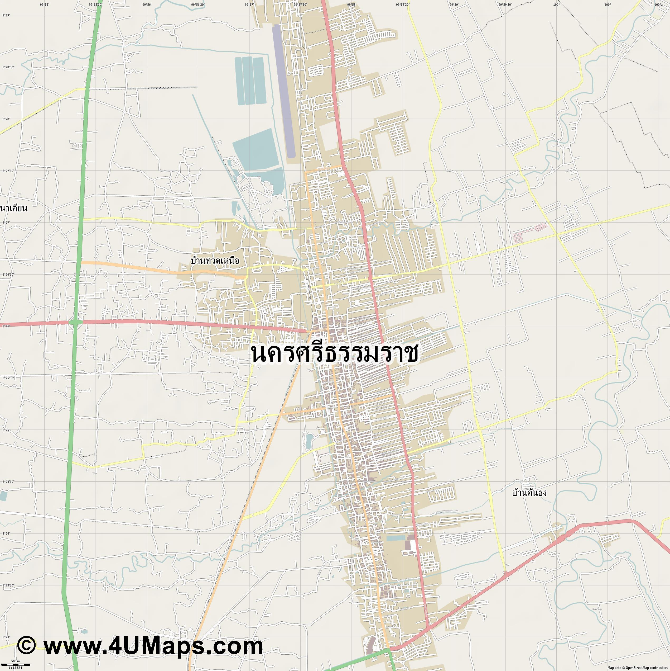 นครศร ธรรมราช Nakhon Si Thammarat  jpg ultra high detail preview vector city map