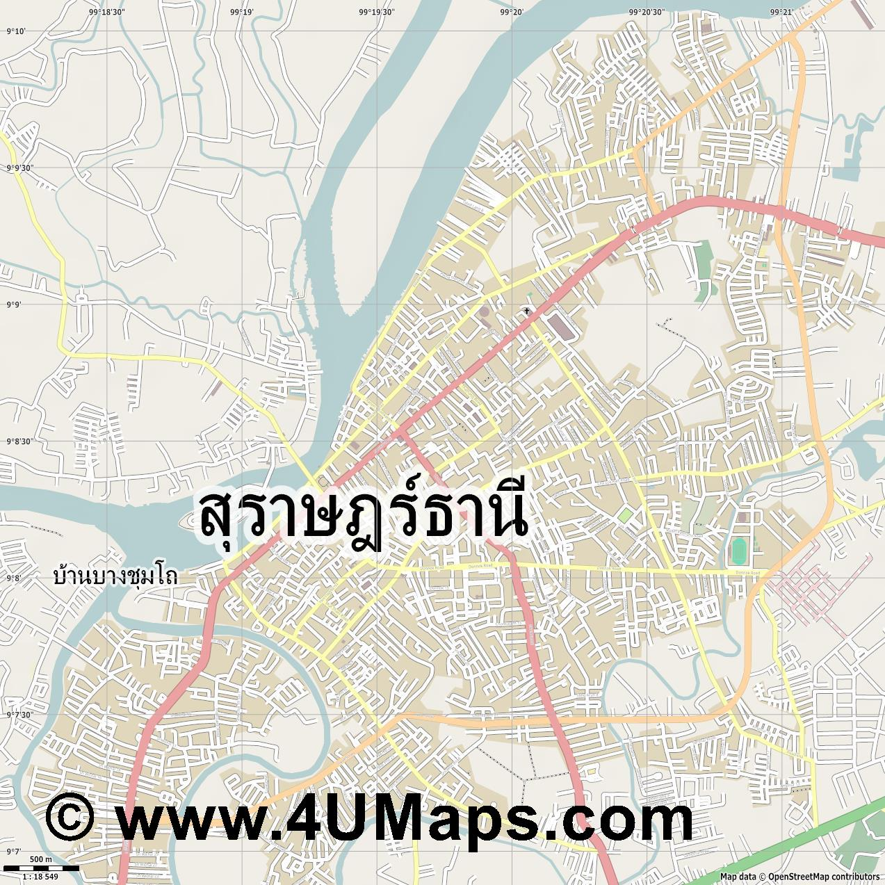 ส ราษฎร ธาน  Surat Thani  jpg ultra high detail preview vector city map