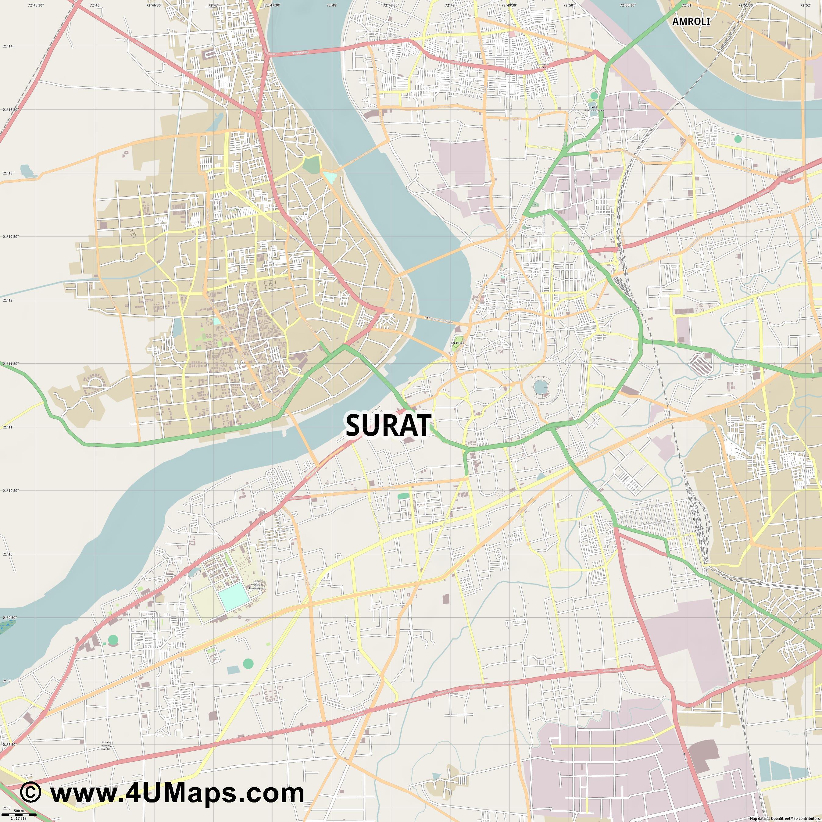 PDF Svg Scalable Vector City Map Surat
